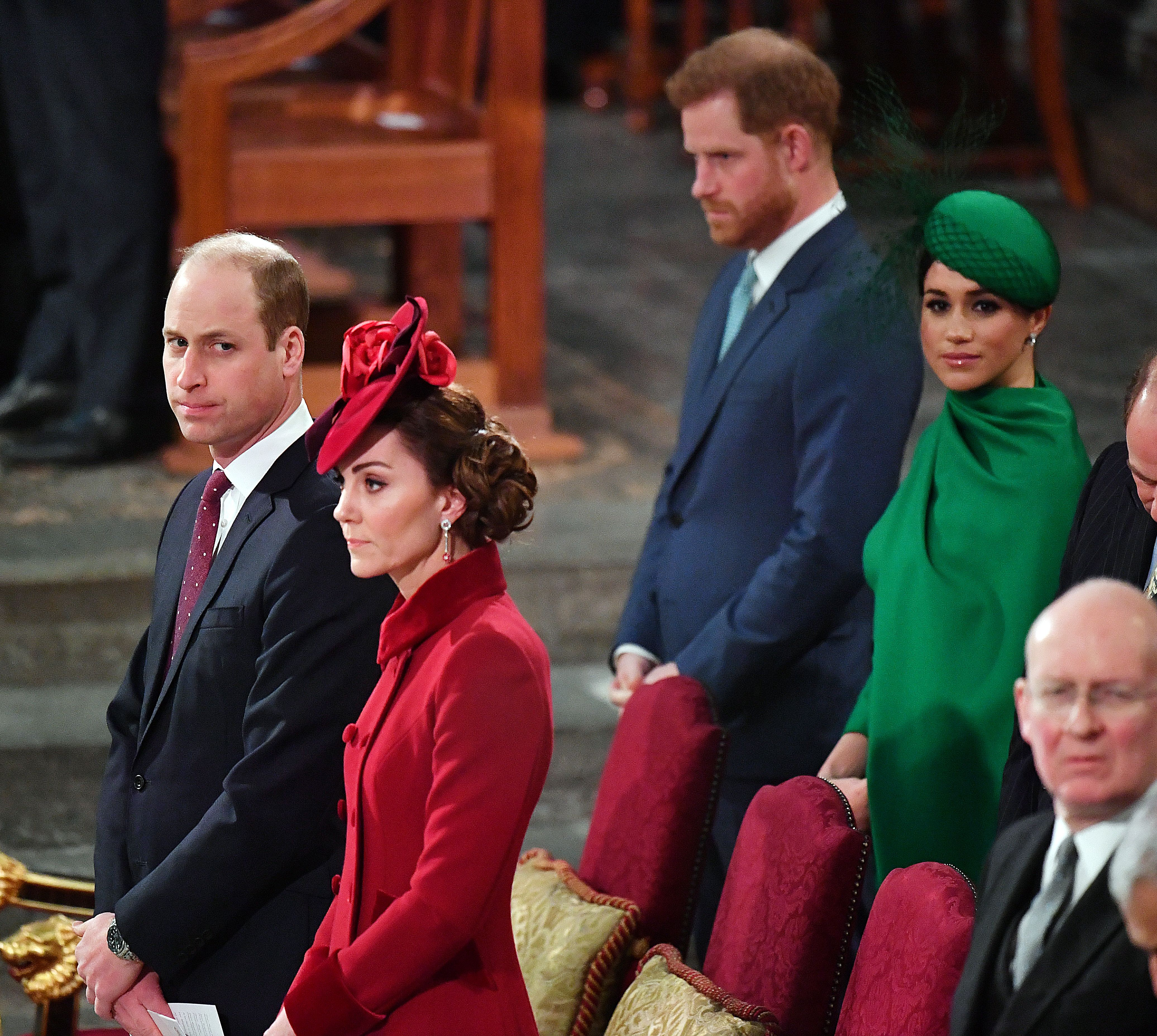 The Cambridges and the Sussexes during the Commonwealth Service at Westminster Abbey