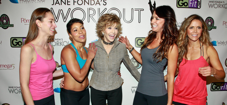 Jane Fonda and workout students