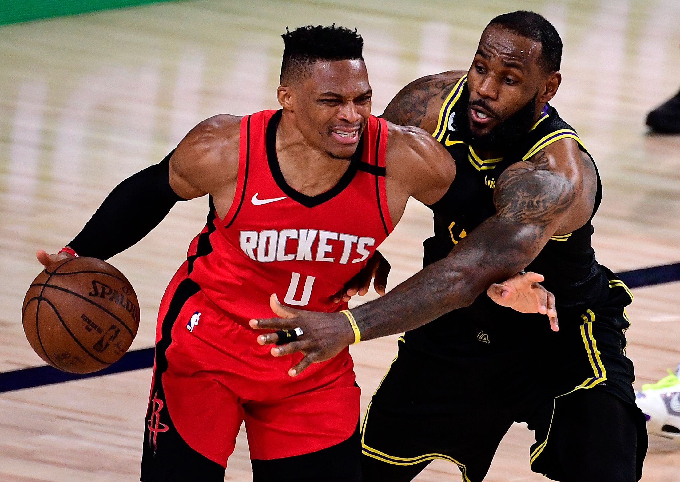 Russell Westbrook guarding LeBron James