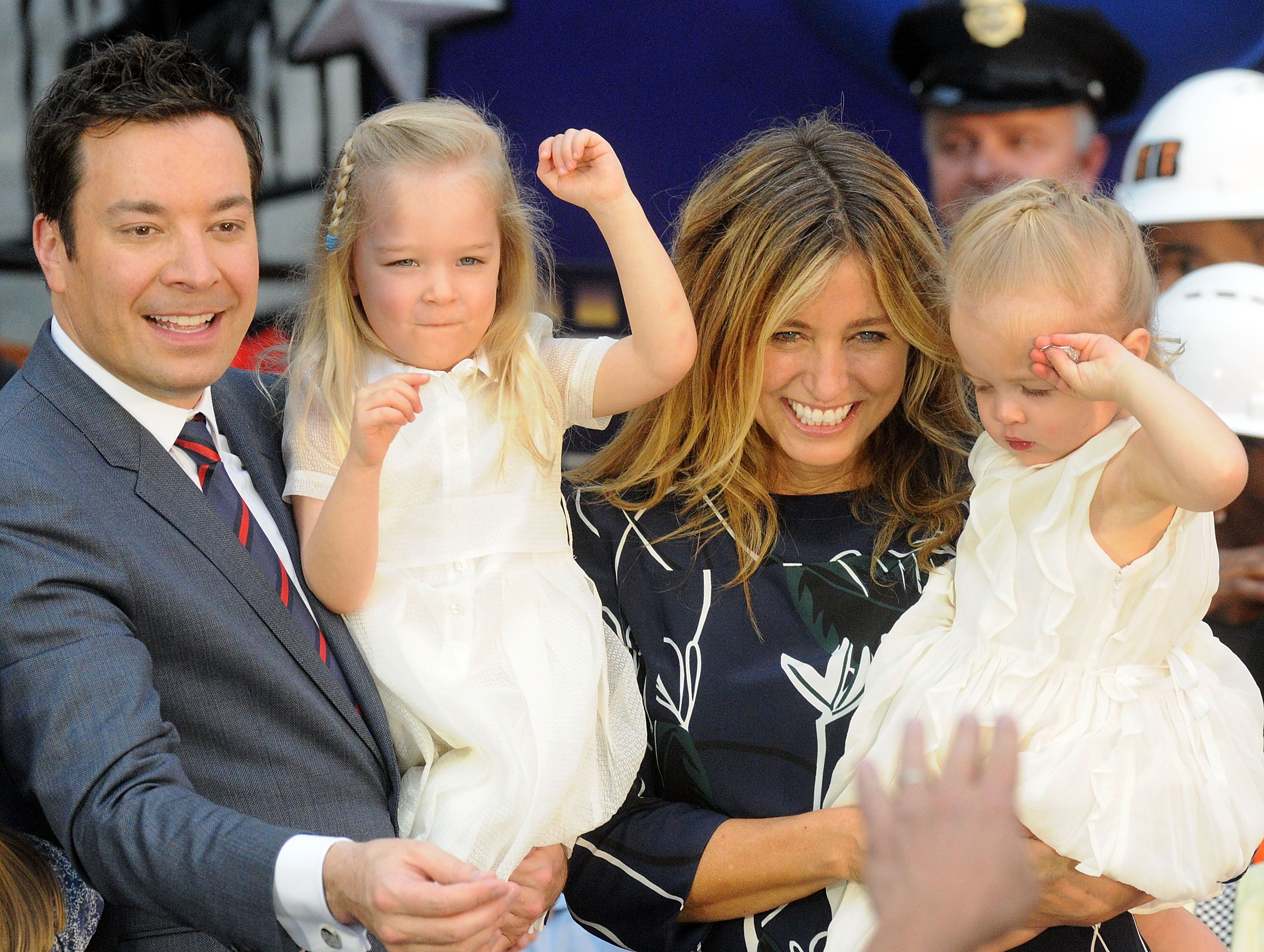 Jimmy Fallon, Nancy Juvonen, and two daughters