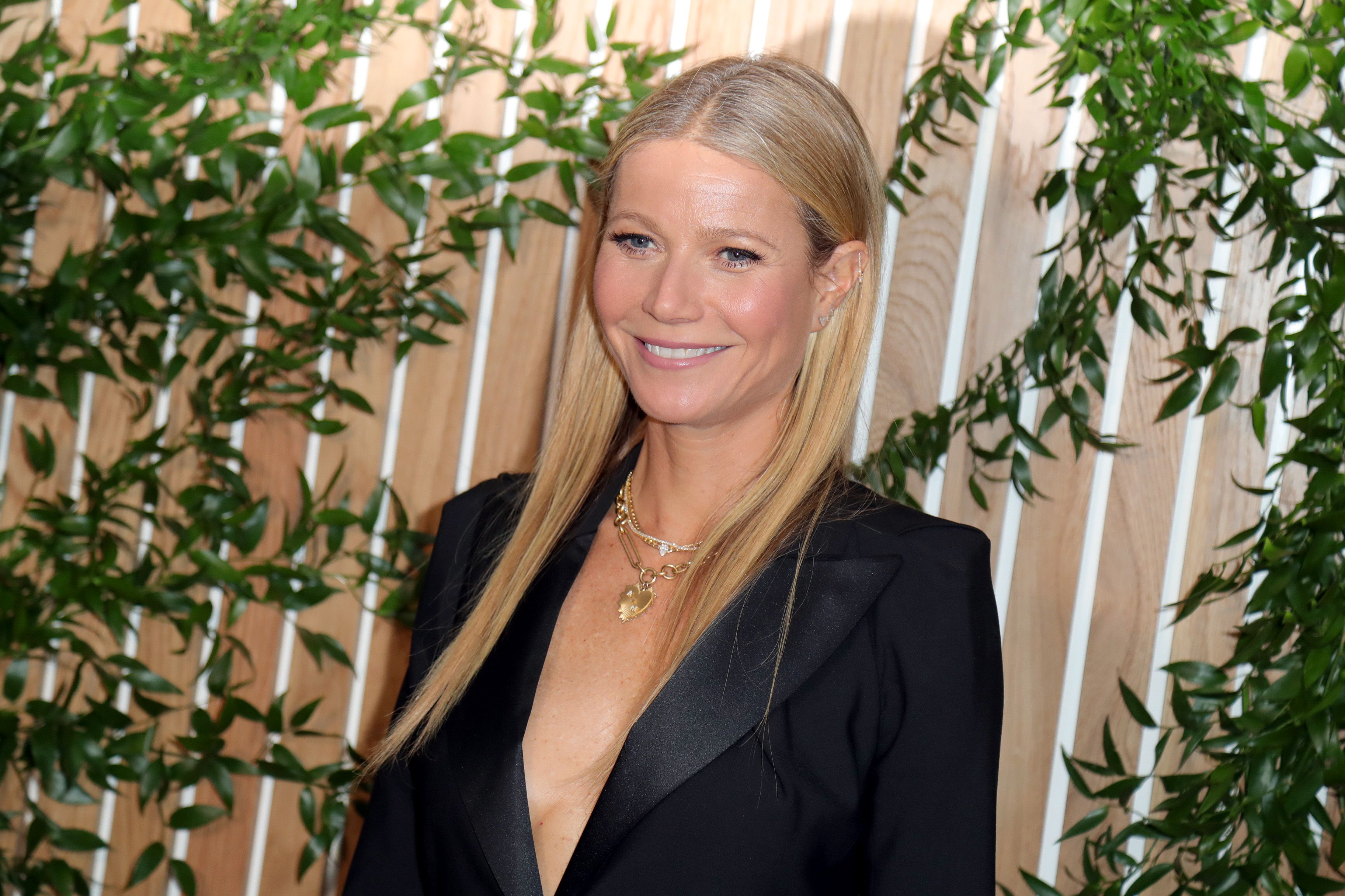 Gwyneth Paltrow in front of a nature scene