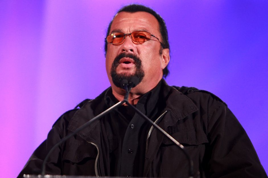 Steven Seagal speaks at an event