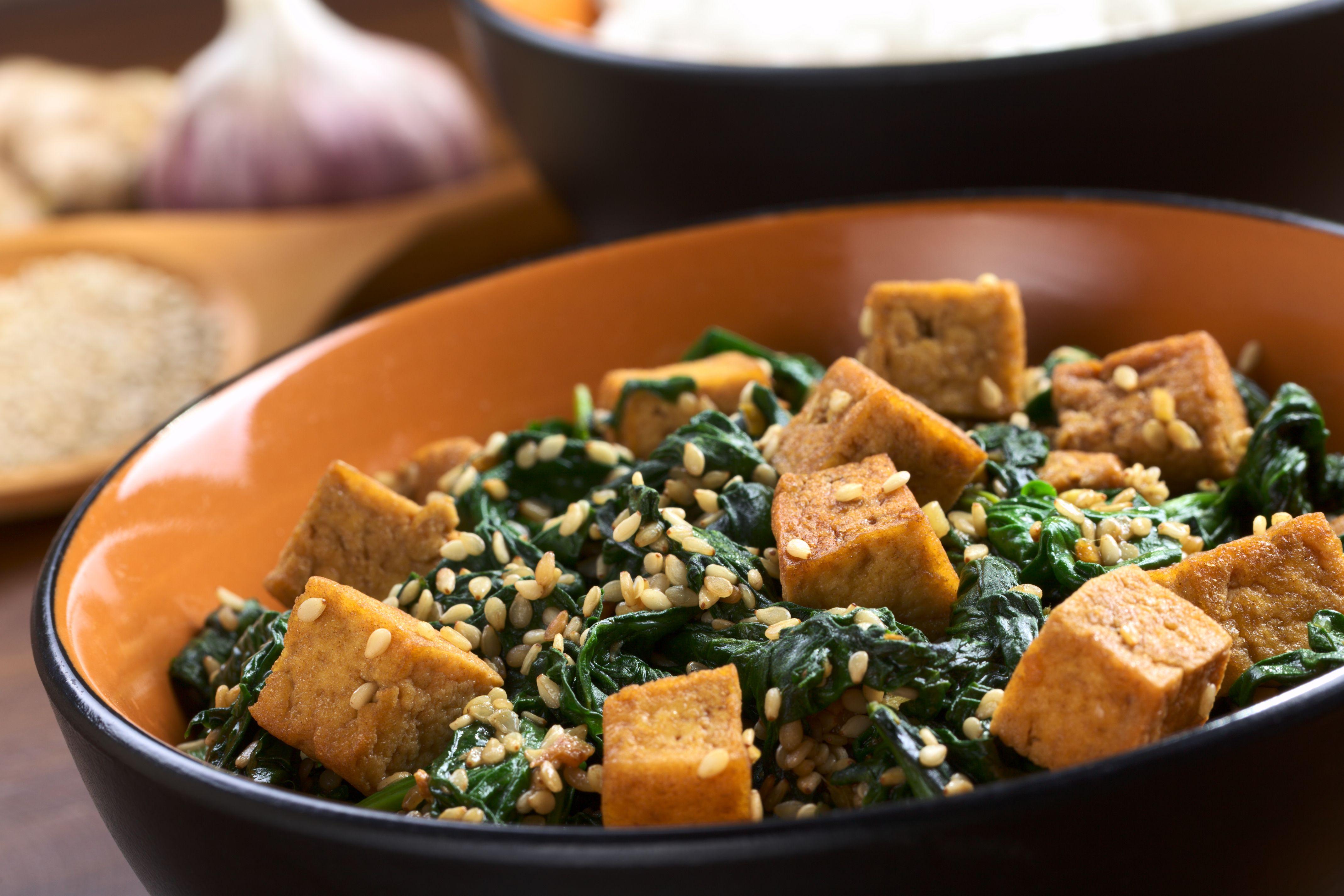 Tofu and spinach vegan dish.
