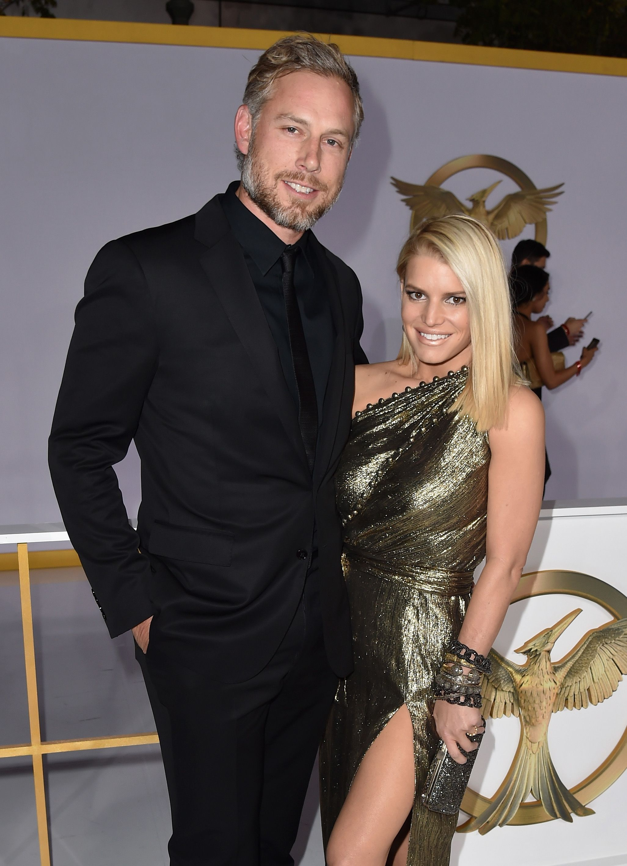 Jessica Simpson and husband at an event