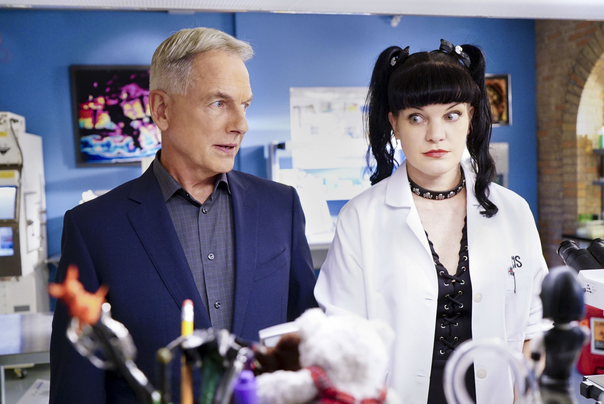 "Mark Harmon and Pauley Perrette starred together on the drama ""NCIS."""