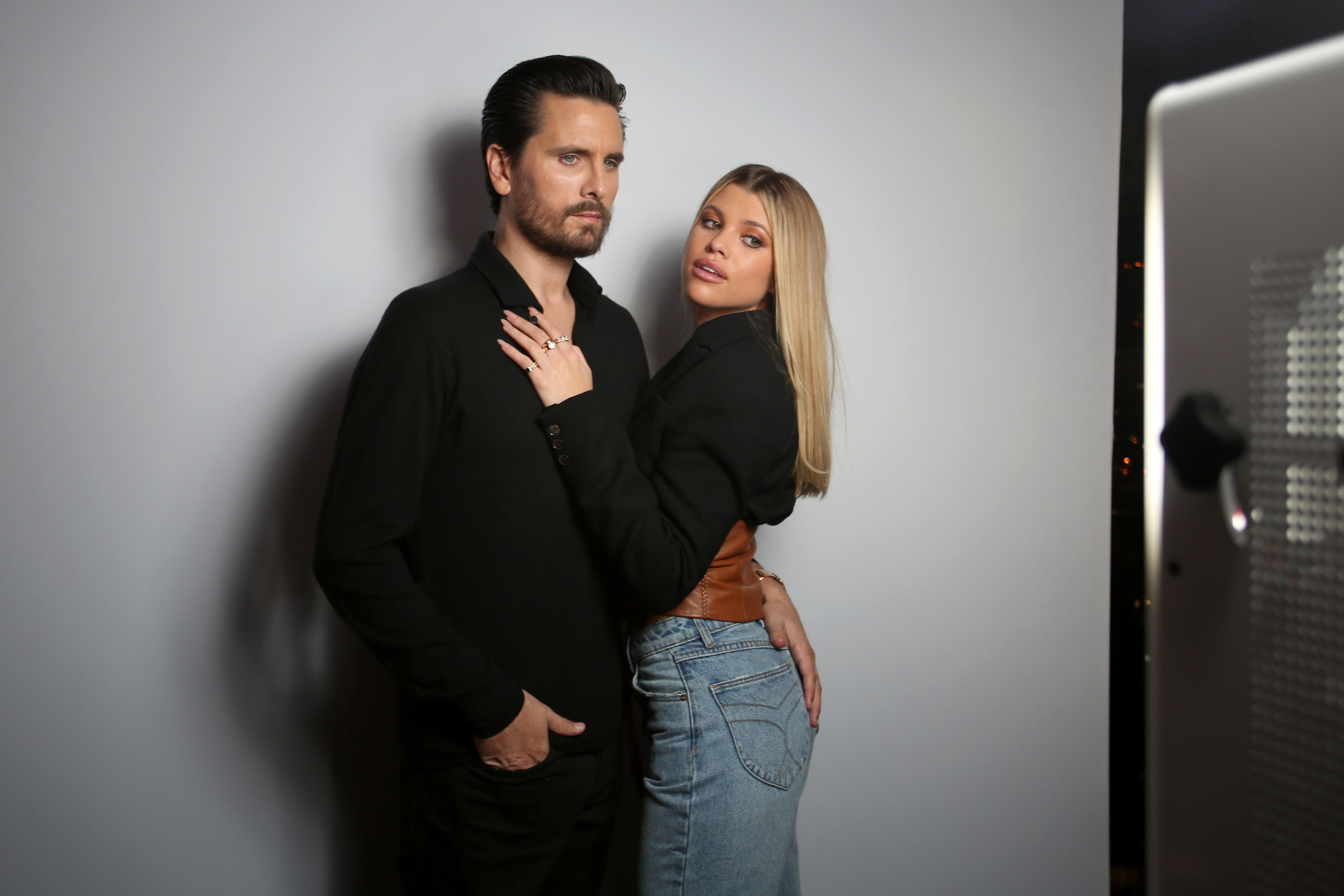 Scott Disick and Sofia Richie pose for photographers