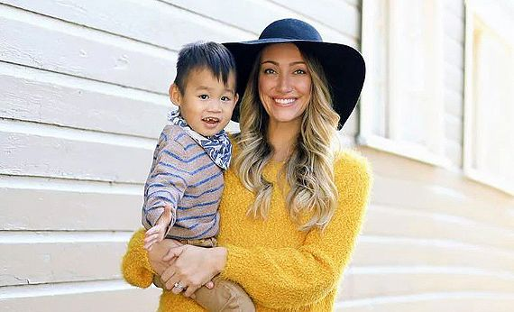Myka Stauffer with adopted son Huxley