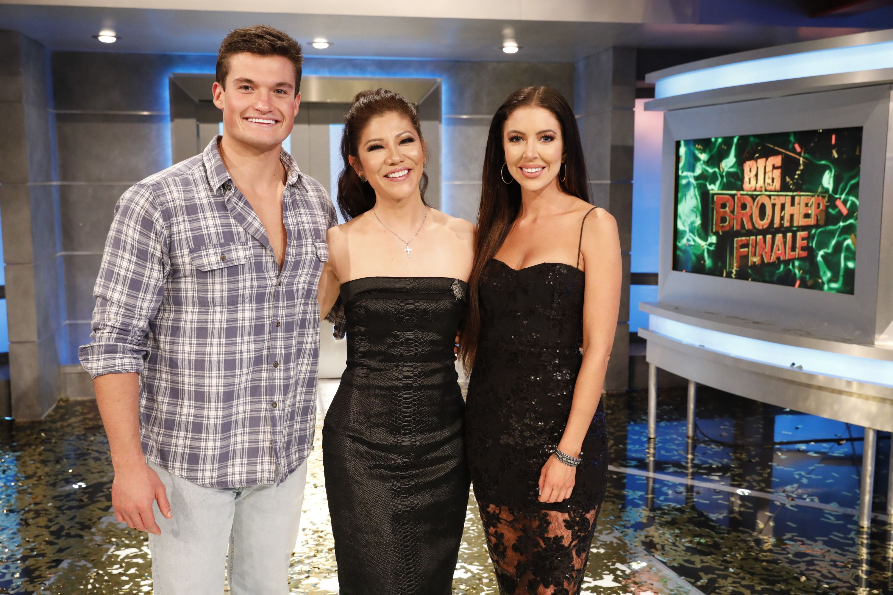 "Jackson Michie, Julie Chen, and Holly Allen on ""Big Brother"" set"
