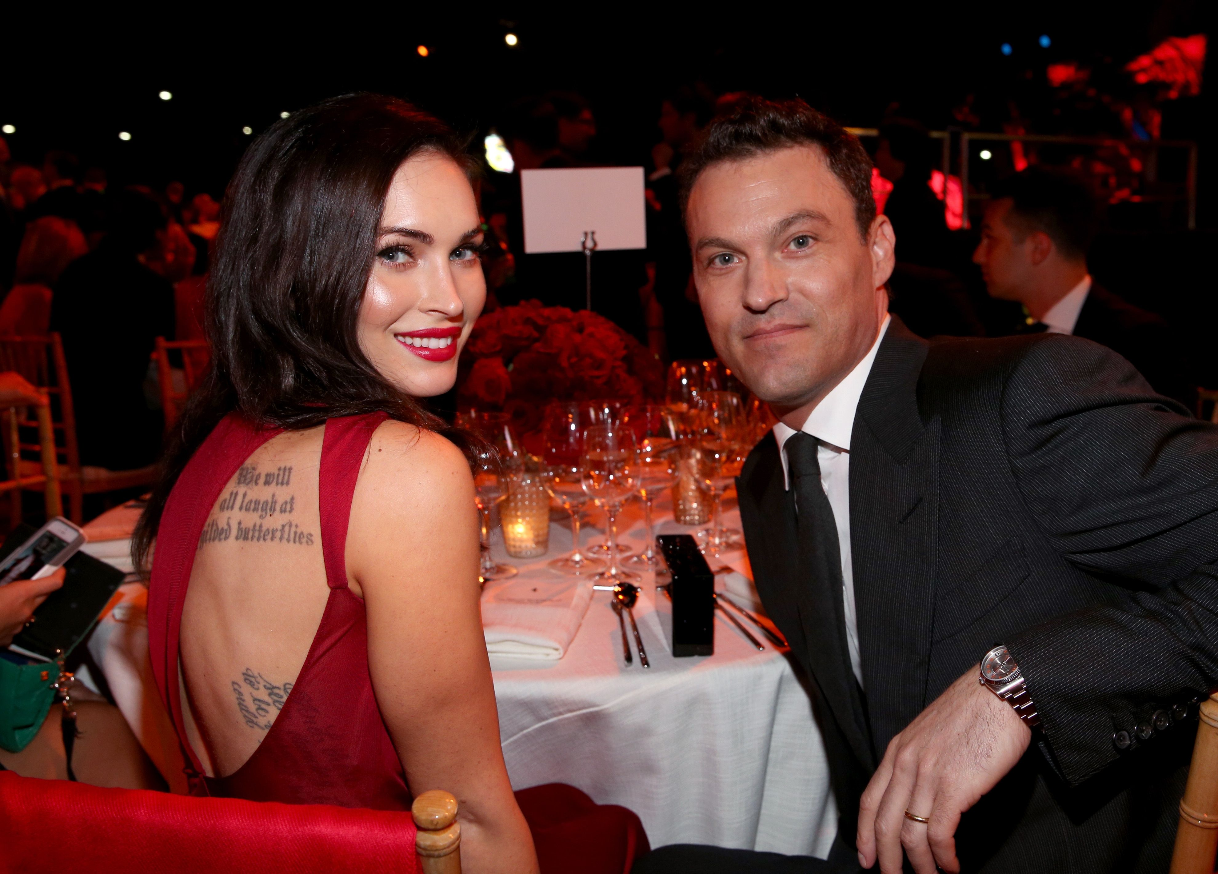 Megan Fox and Brian Austin Green pose for photographers