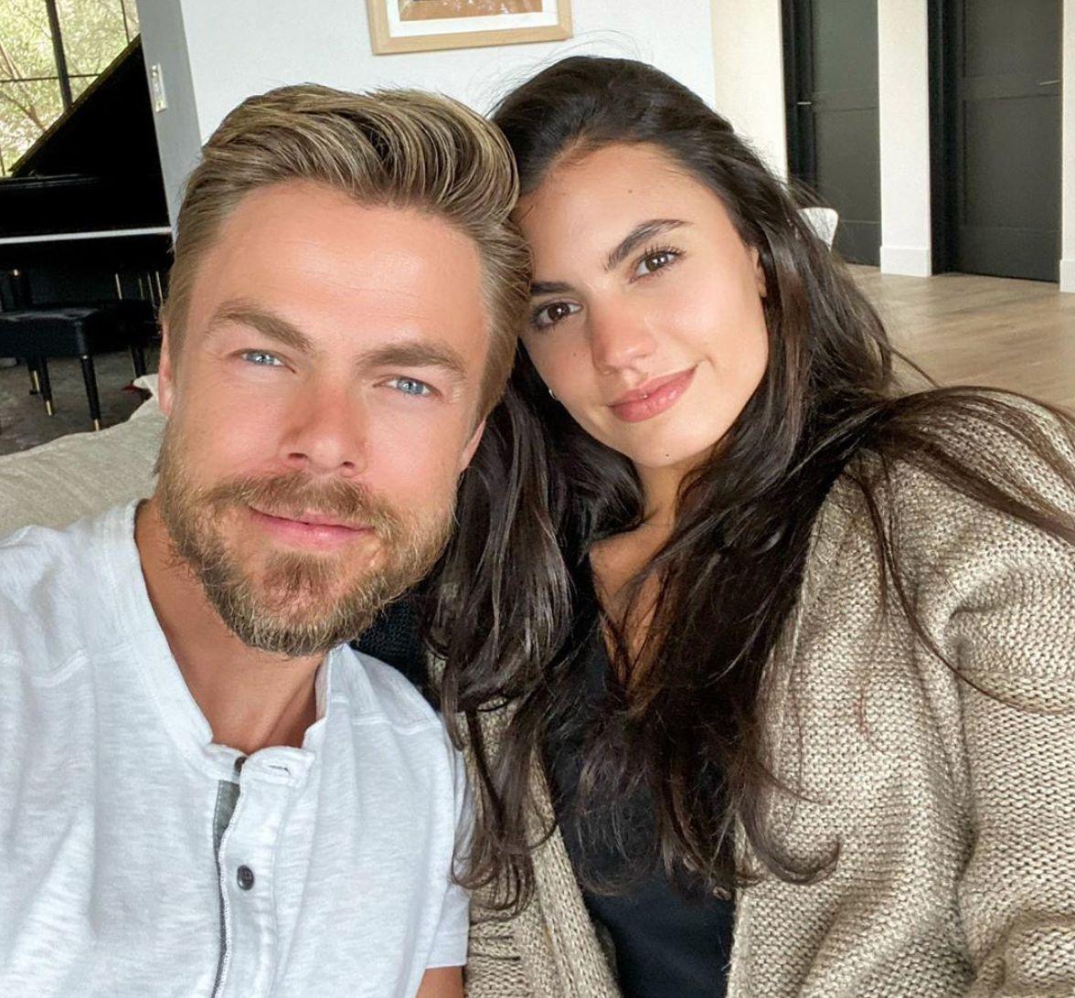 Derek Hough taking a selfie with girlfriend, Hayley Erbert.