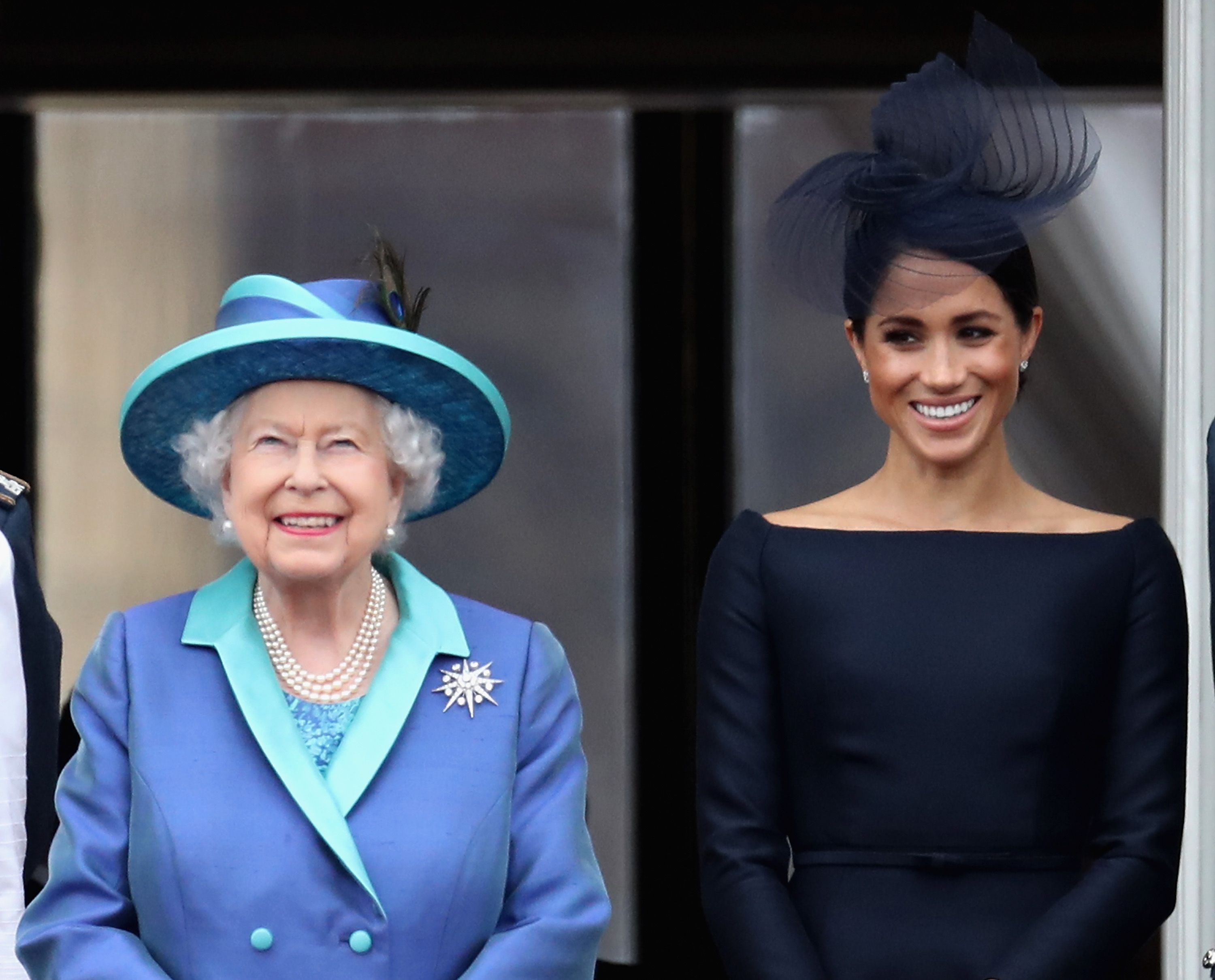 Queen Elizabeth and Meghan Markle on Buckingham Palace balcony