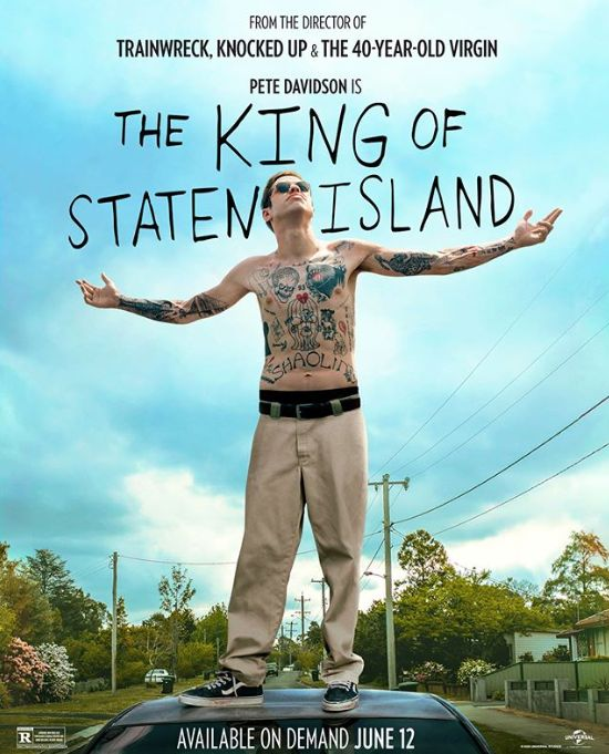Pete Davidson stands shirtless on a car for the movie poster for King of Staten Island.
