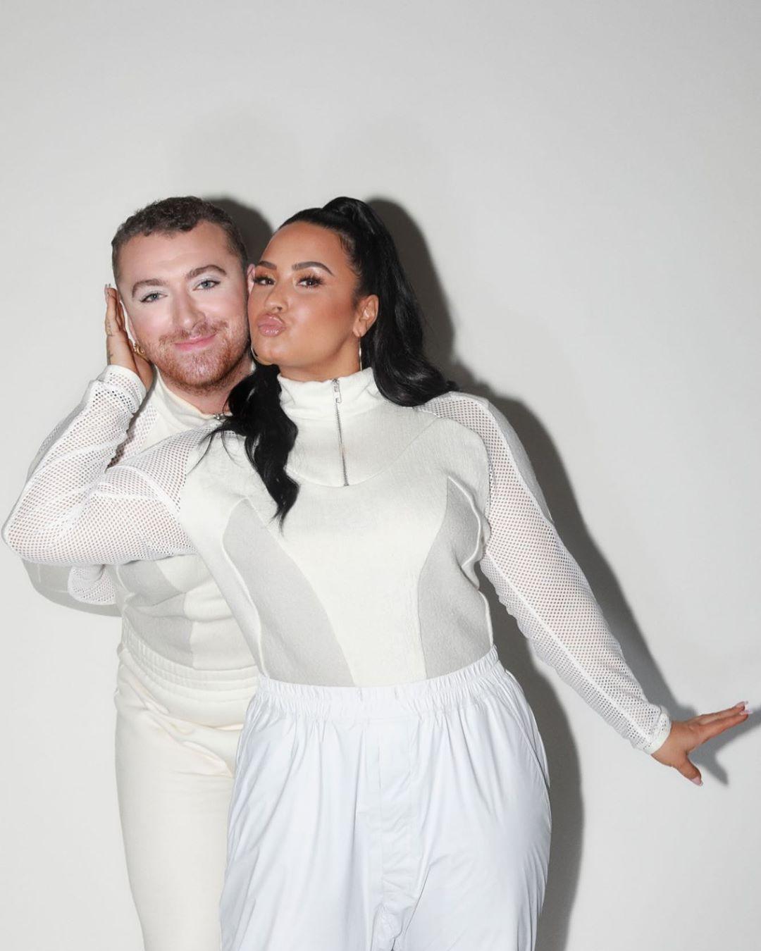 Demi Lovato with Sam Smith