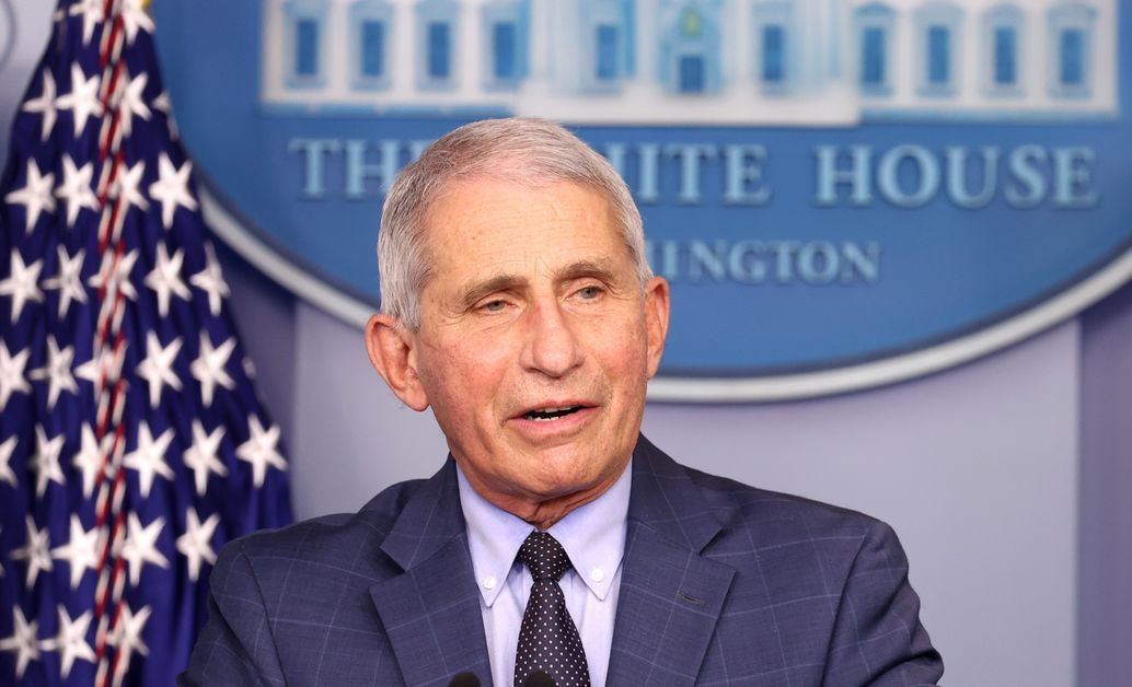 Dry. Anthony Fauci speaks at a press conference.