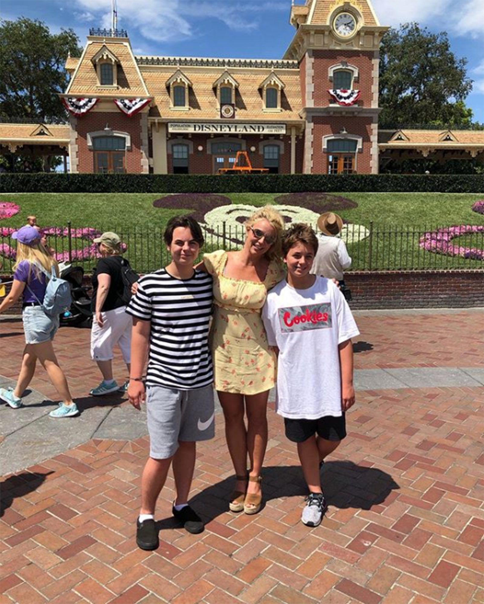 Britney Spears and sons at Disneyland