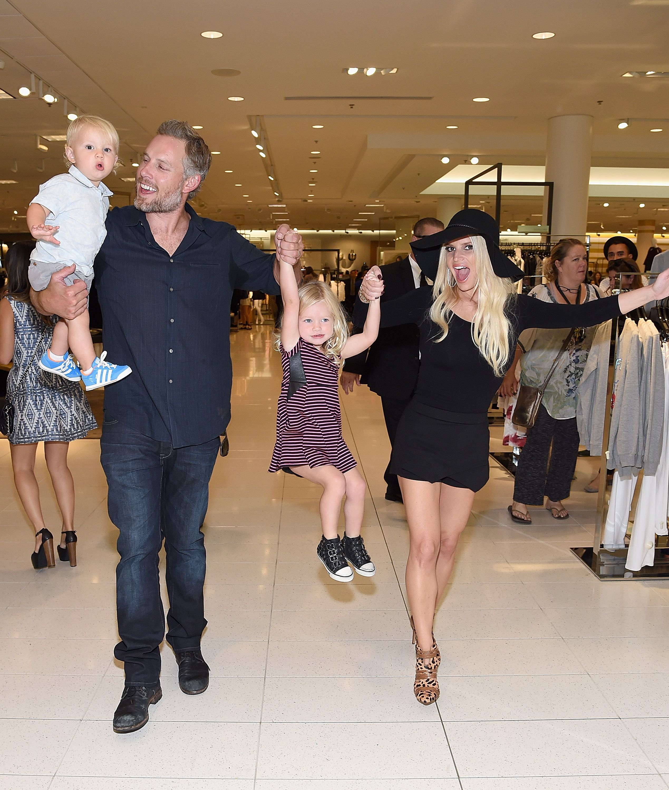 Jessica Simpson and kids in a store