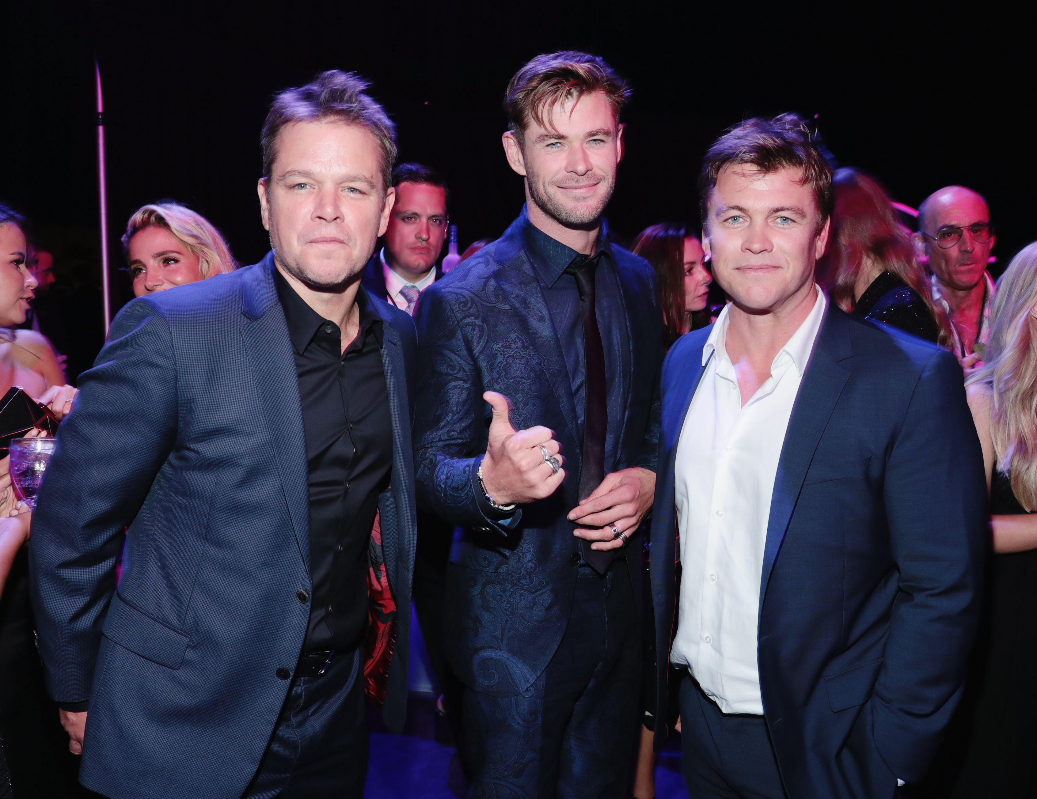 Chris Hemsworth and Luke Hemsworth with Matt Damon