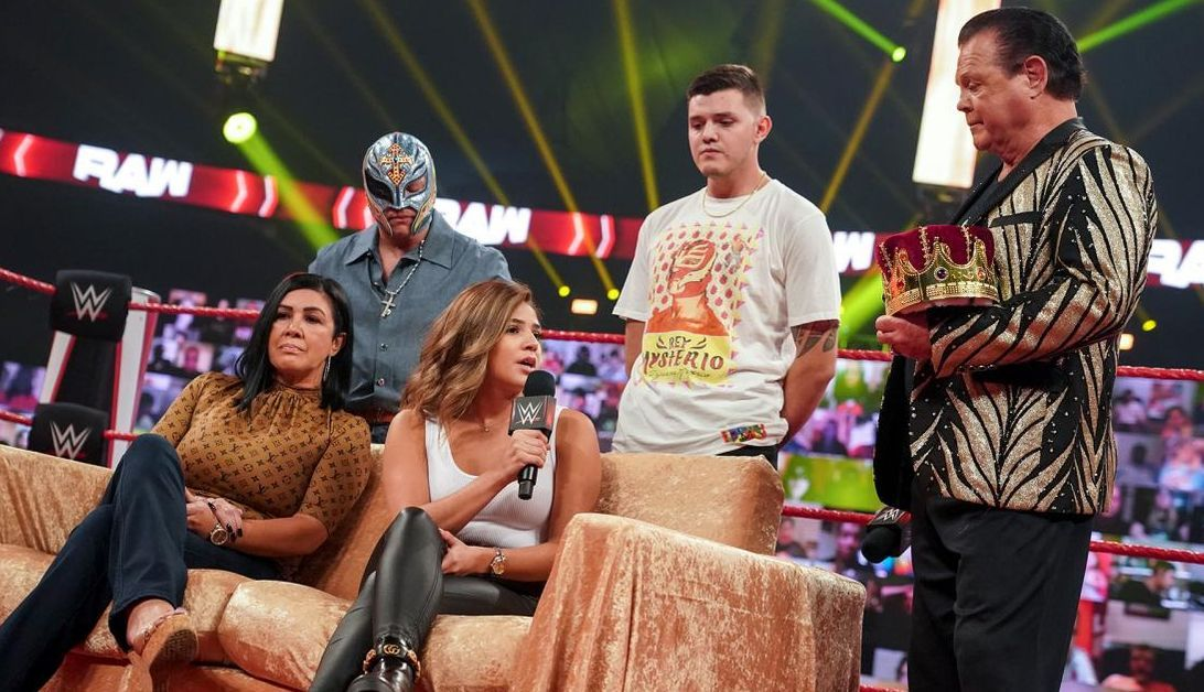 Angie, Aalyah, Rey, and Dominik Mysterio appear on Jerry Lawler's 'The King's Court' segment on the September 28, 2020, episode of Friday Night SmackDown.