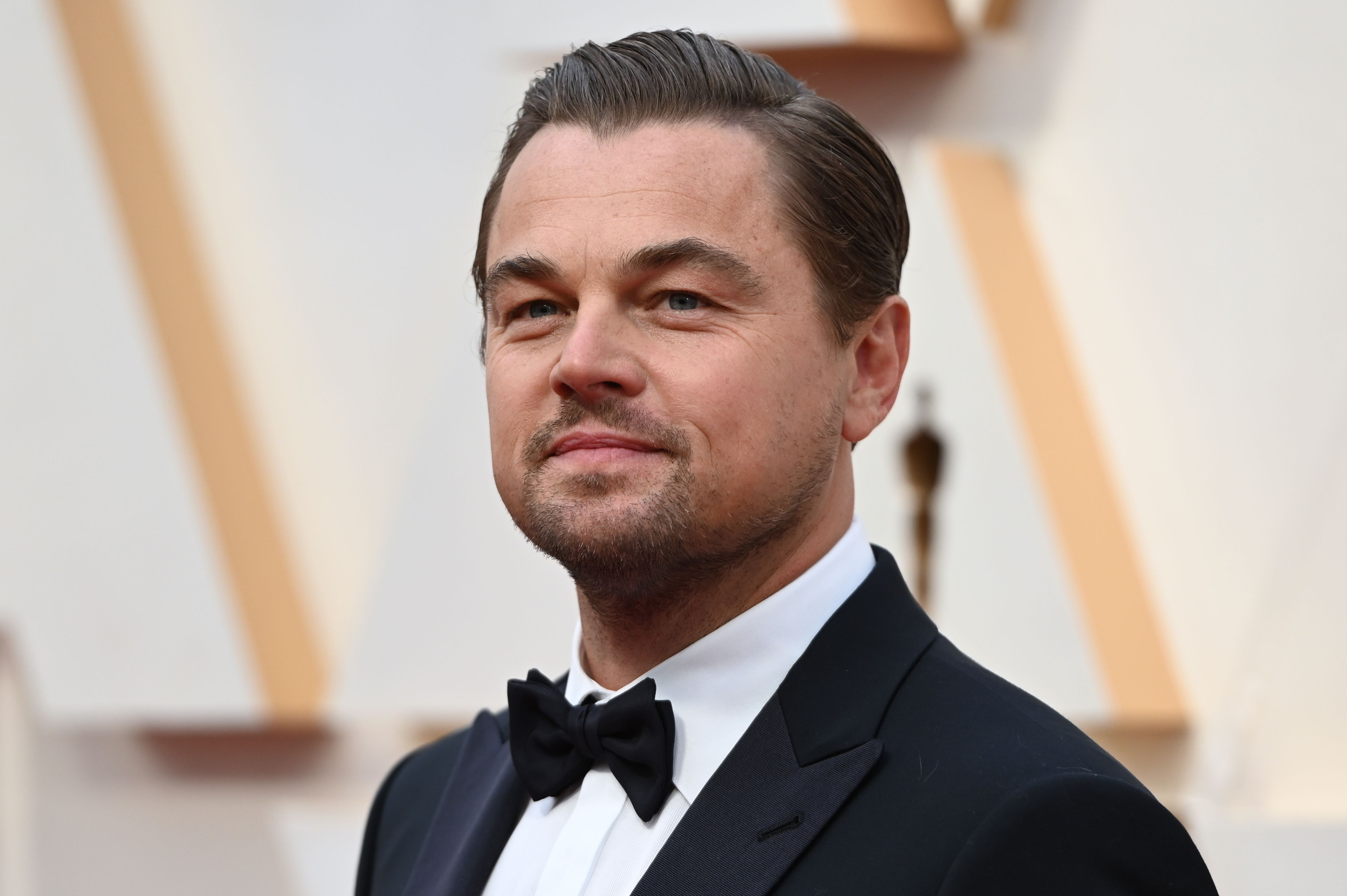 Leonardo DiCaprio grinning while at the Academy Awards.