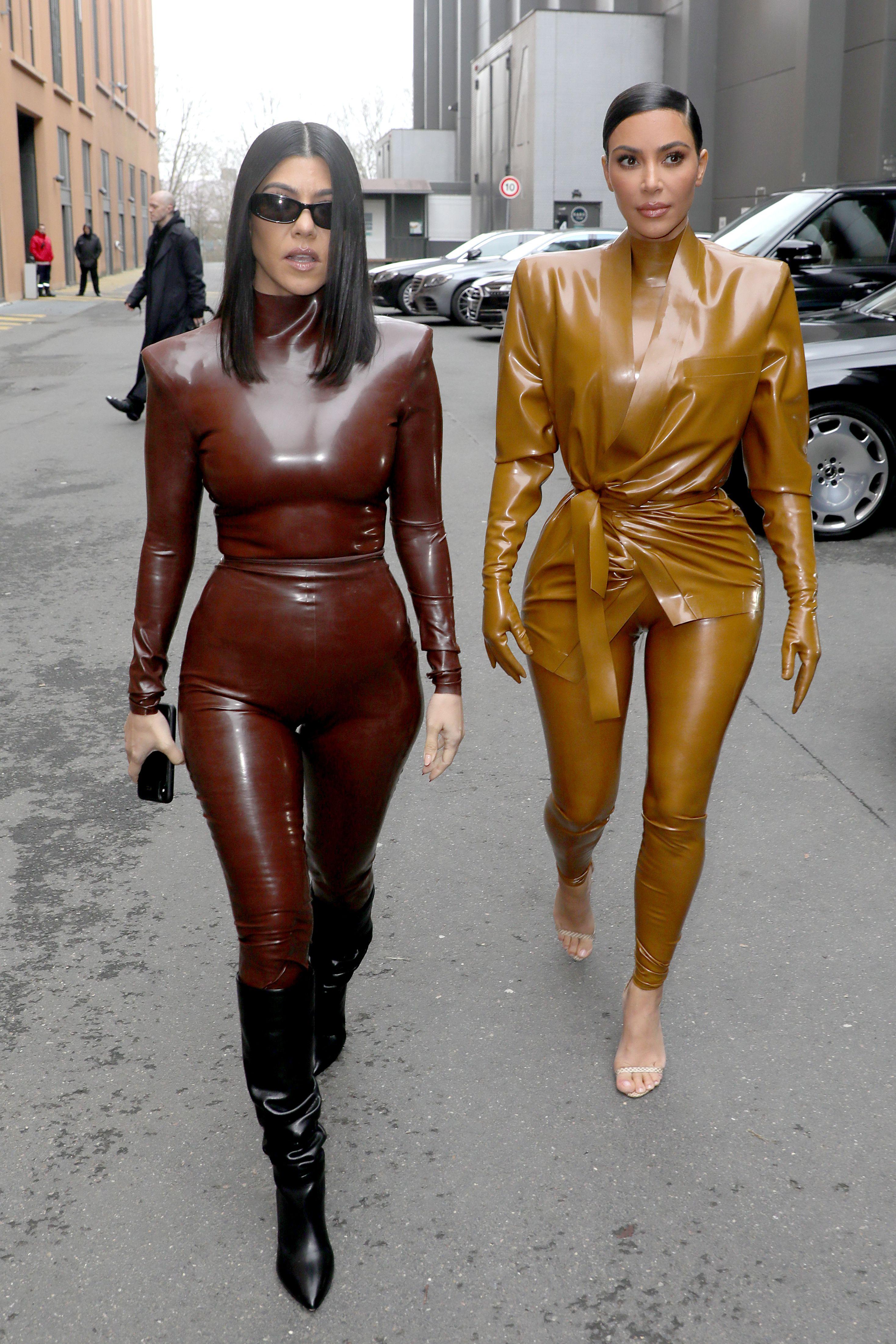 Kourtney and Kim Kardashian dressed in Balmain