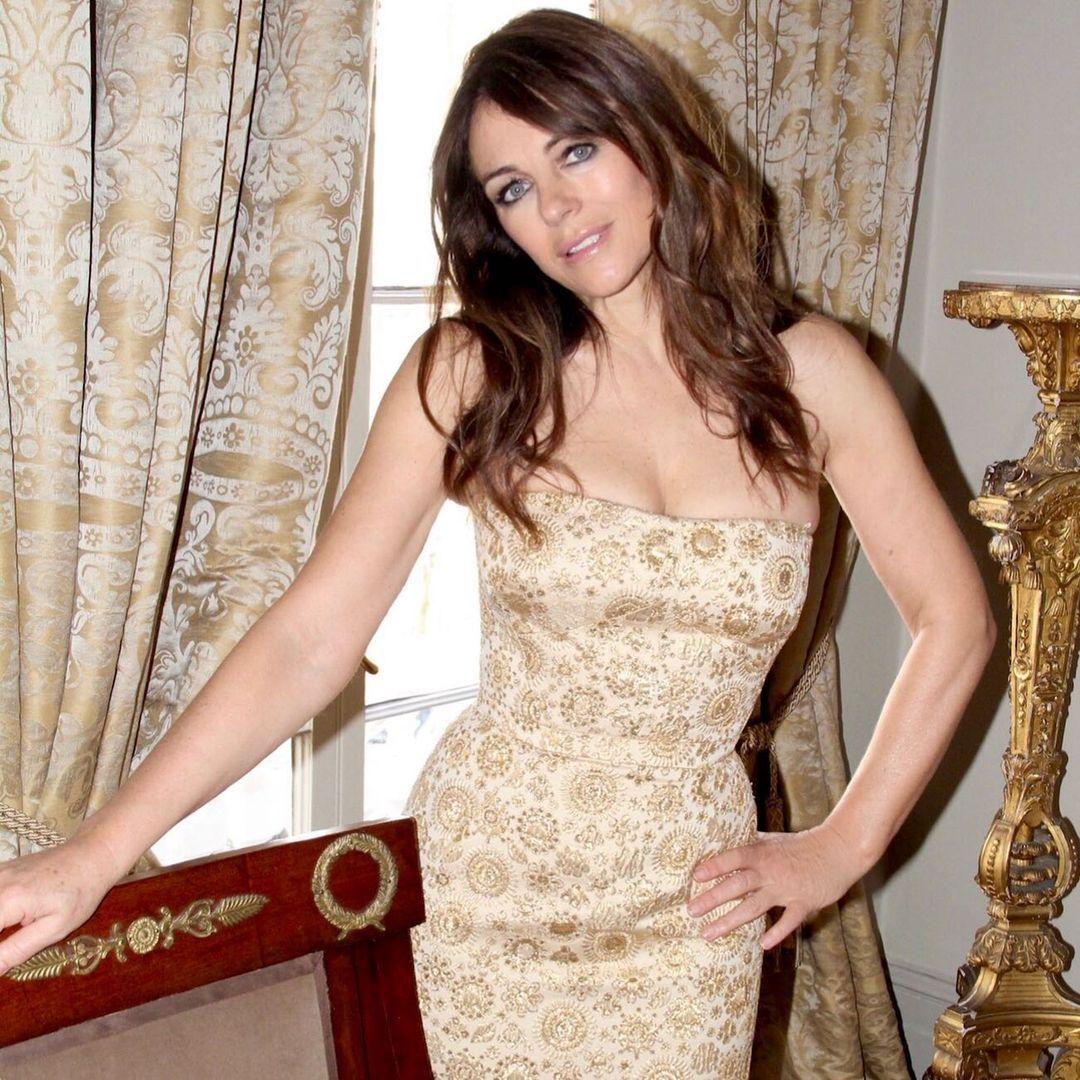 Elizabeth Hurley indoors in dress