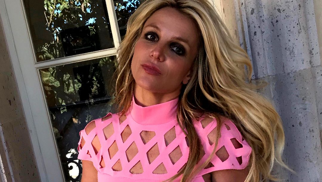 Britney Spears in a pink dress