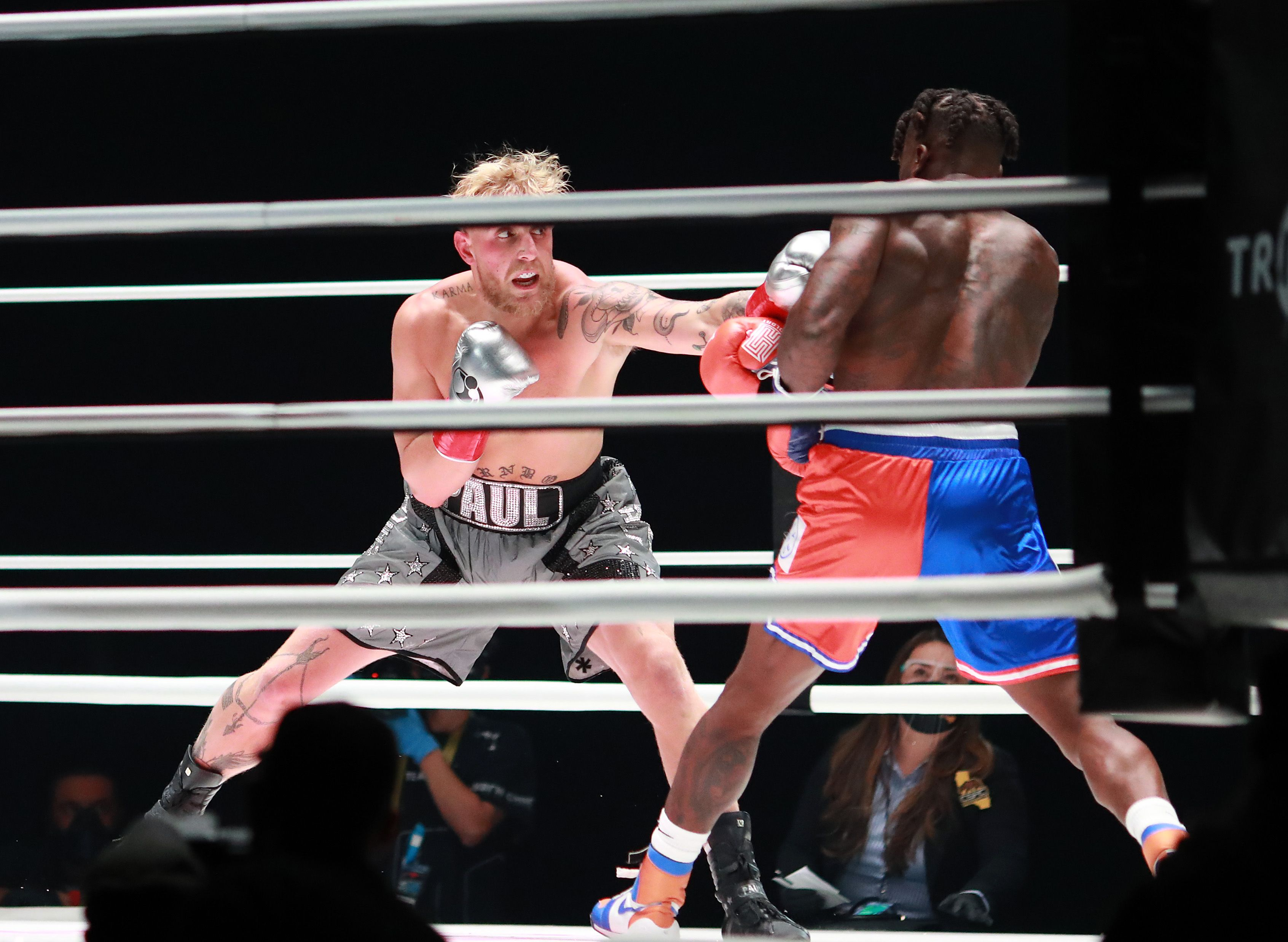 Jake Paul boxes against former NBA player Nate Robinson.