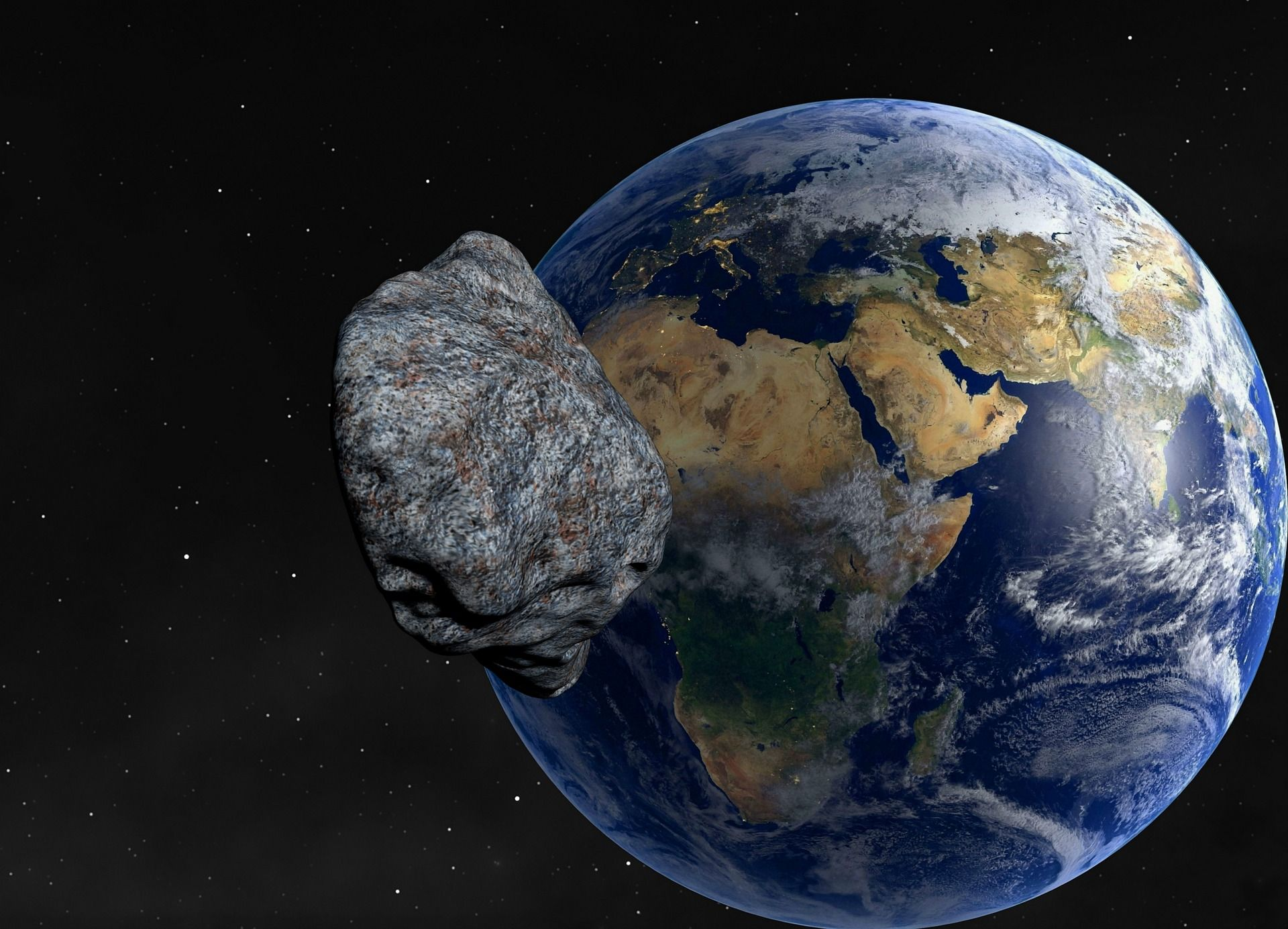 A near-Earth asteroid approaches our planet.