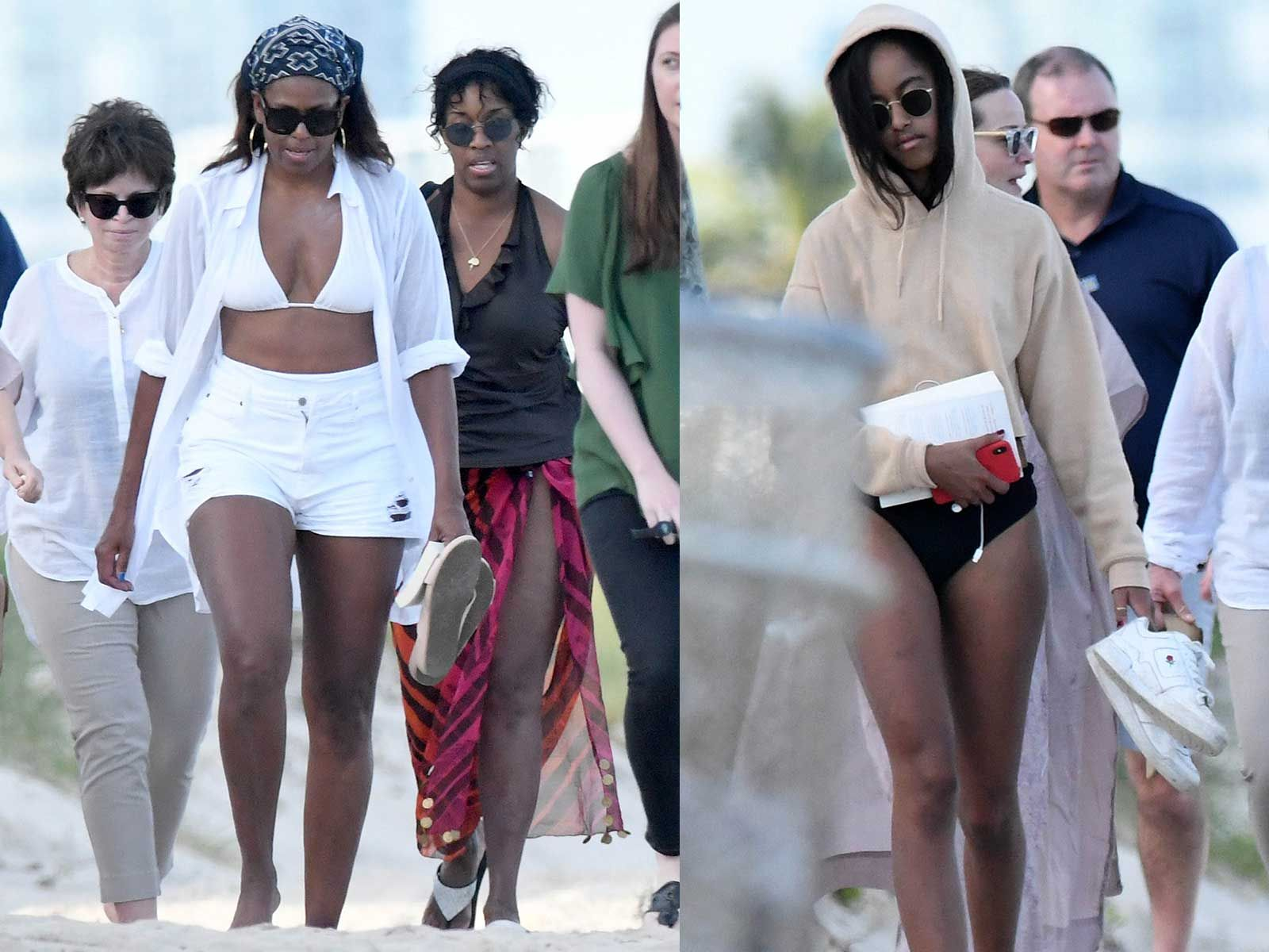 Michelle and Malia Obama Pack Extra Protection for Sunny