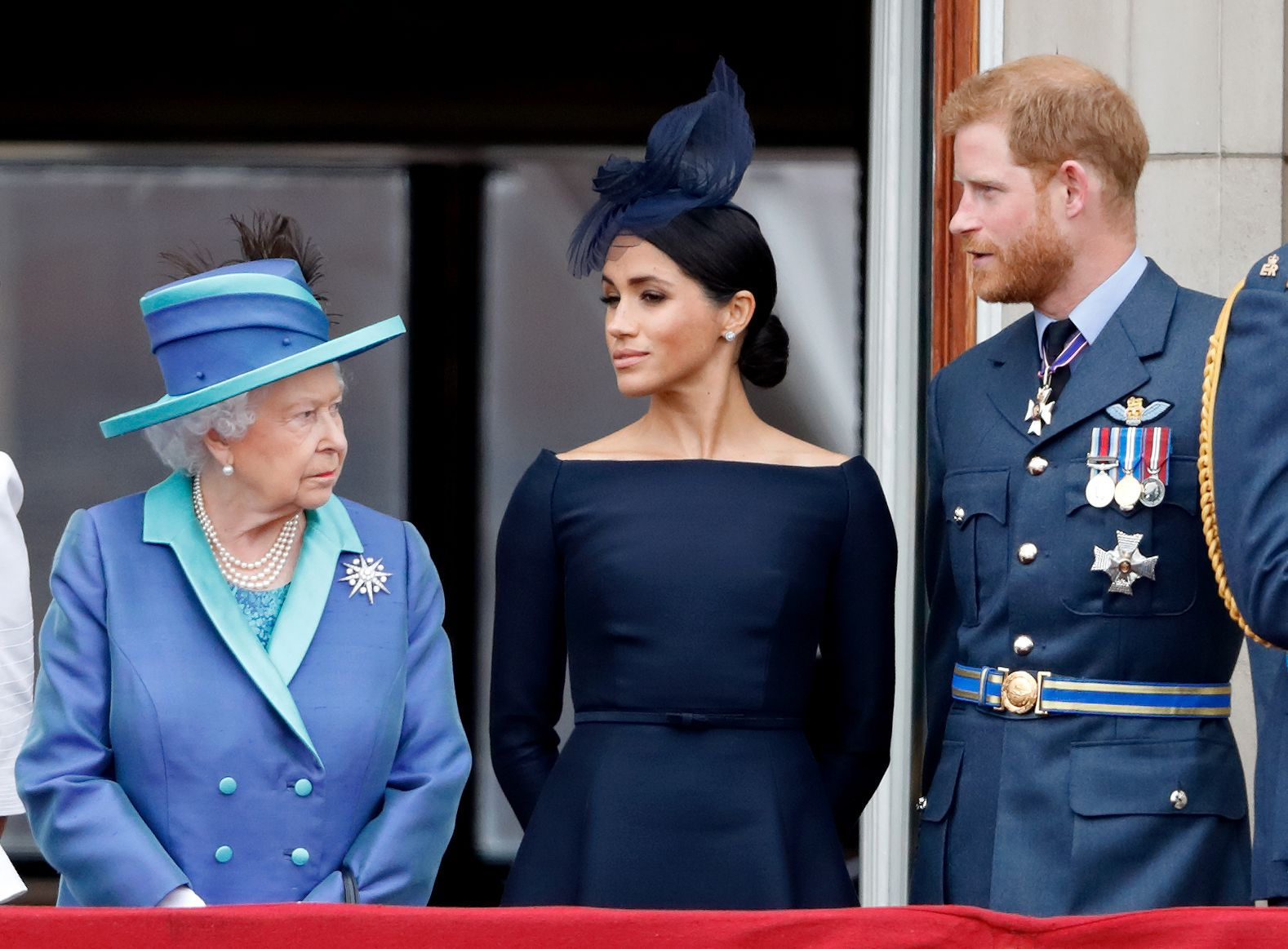 Meghan, Harry, and the Queen on Buckingham Palace balcony