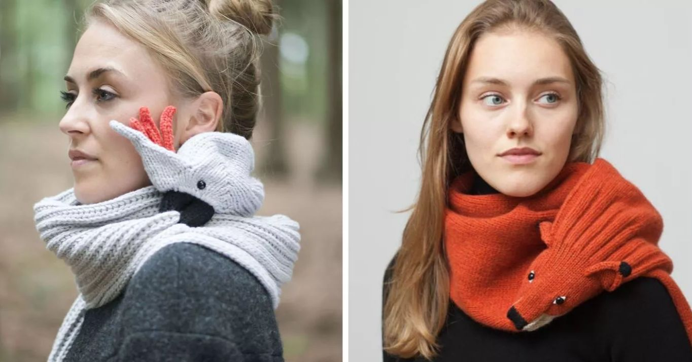 Wrap Yourself Up In A Knit Animal Scarf That 'Bites' To Stay In Place