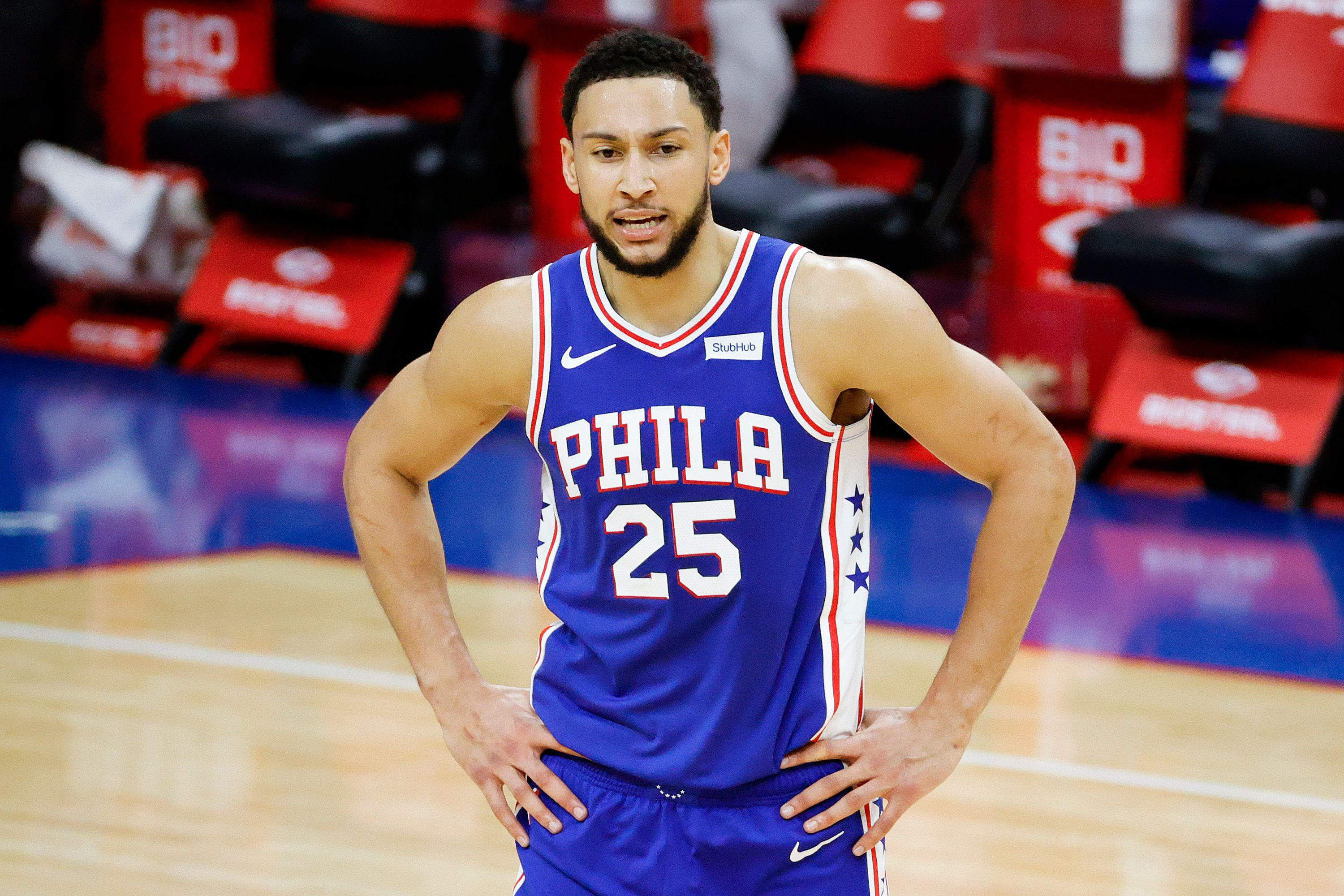 Ben Simmons reacts to ref's call