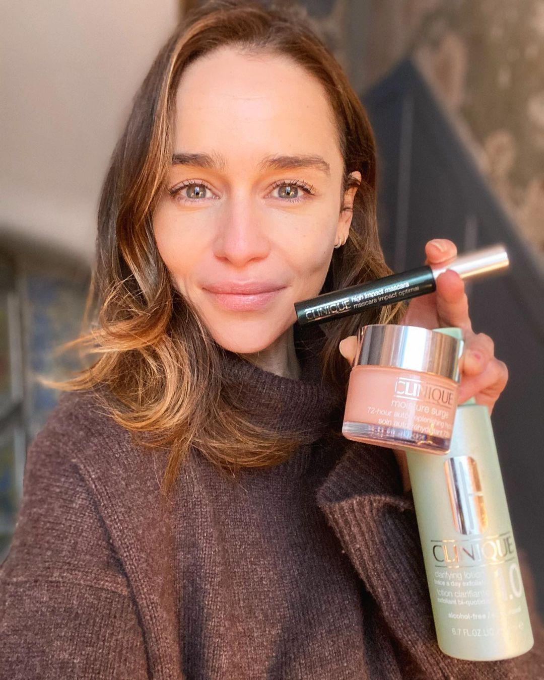 Emilia Clarke with Clinique skincare