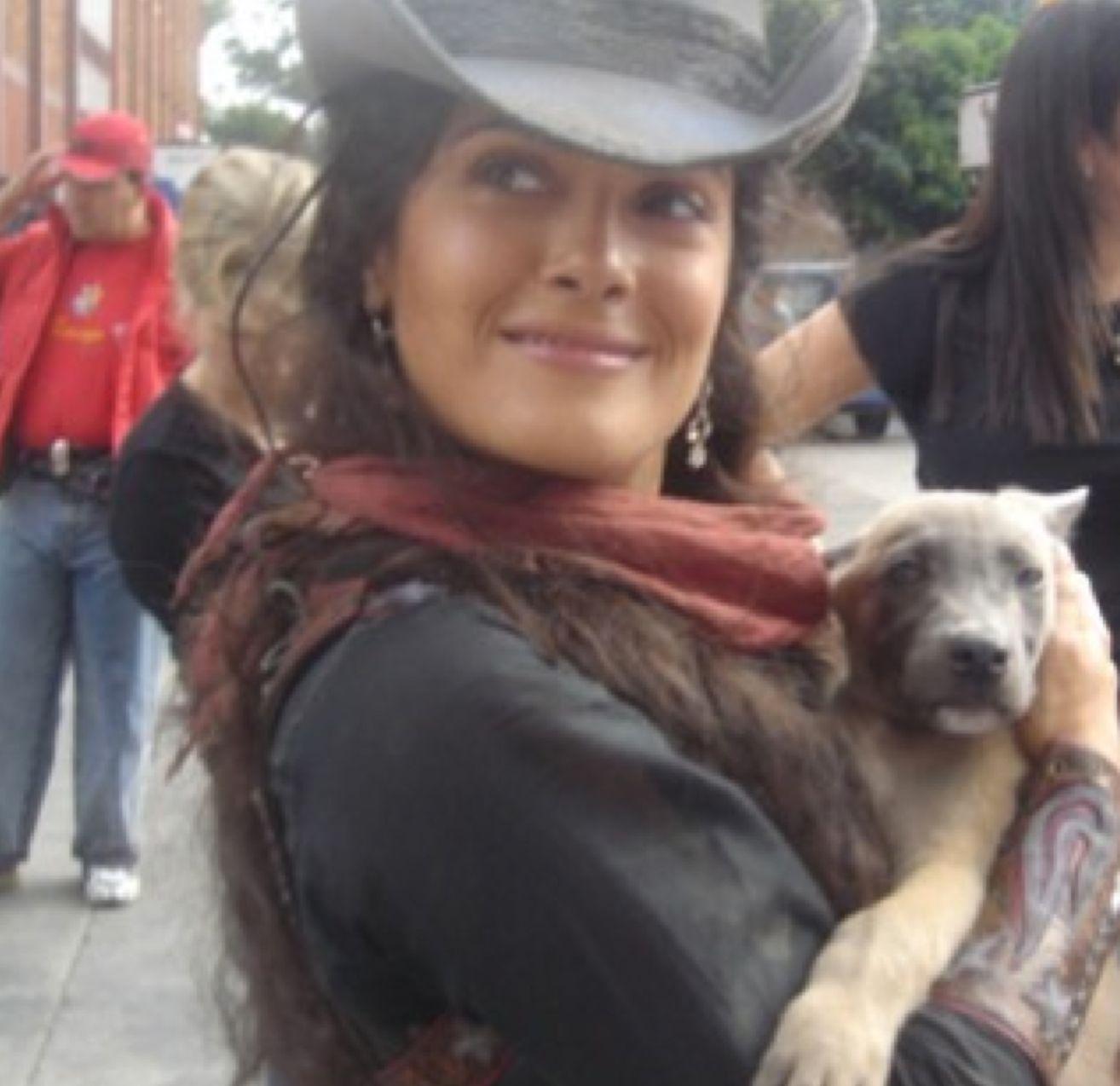 Salma Hayek with a dog