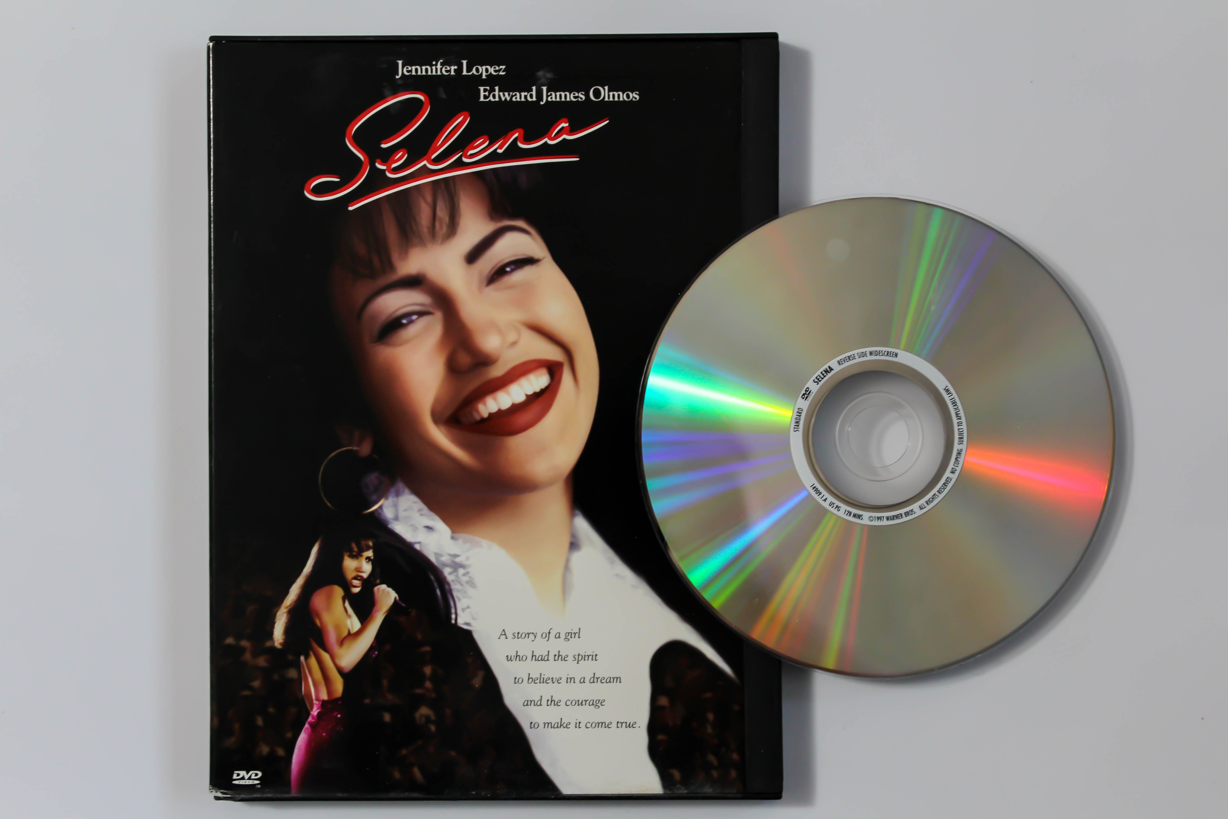 The DVD cover of 'Selena' is seen.