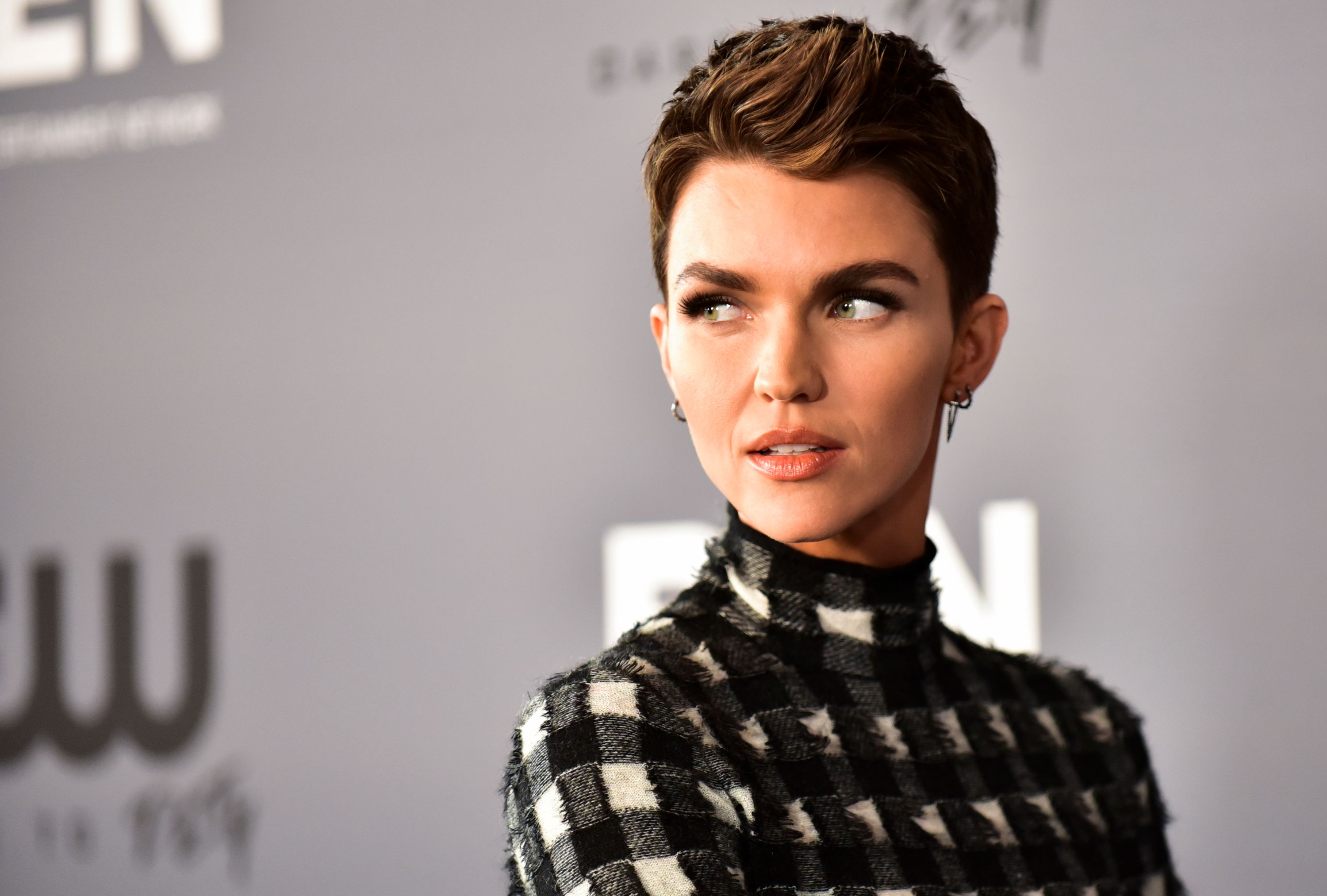 Ruby Rose poses for photographers