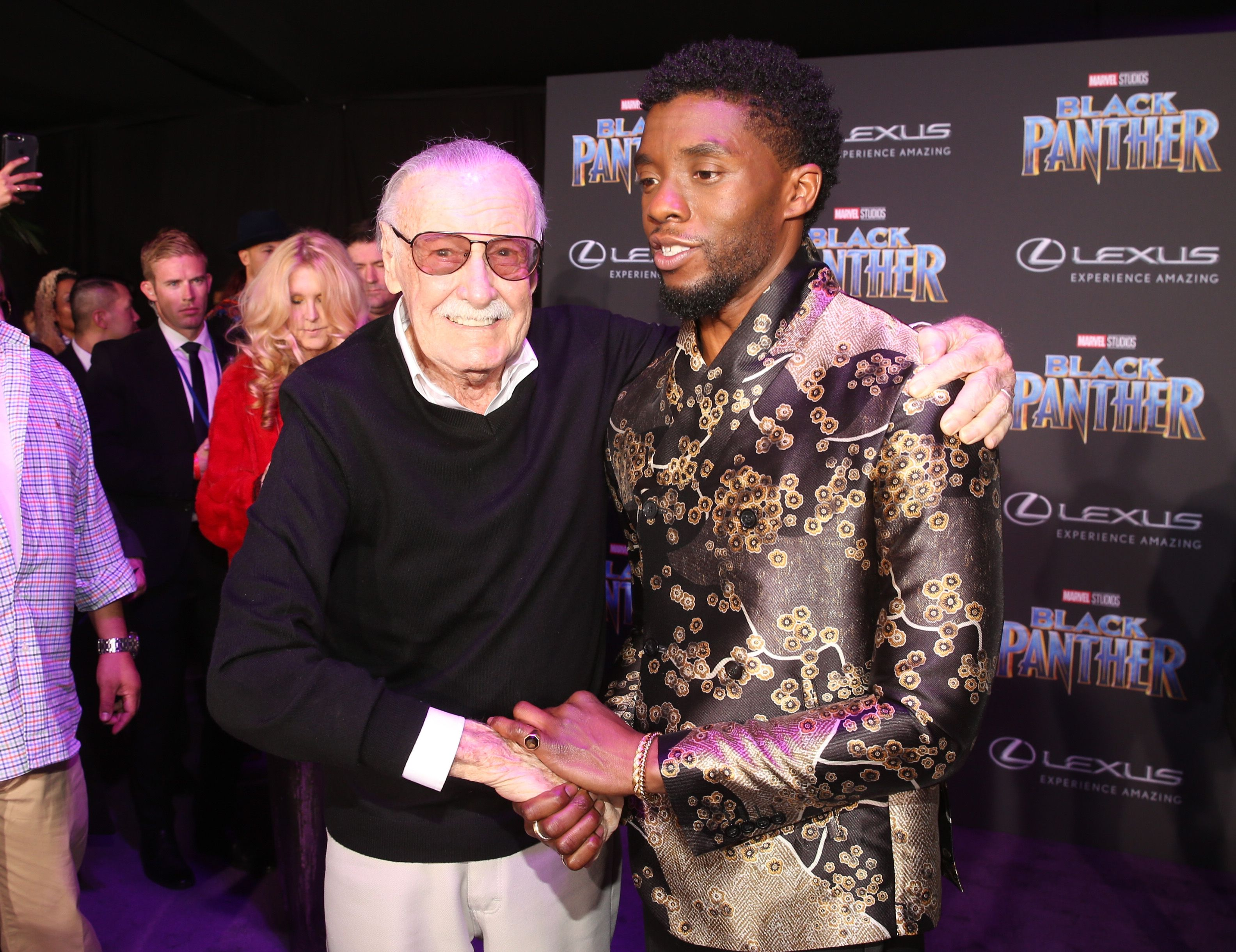 Chadwick Boseman and Stan Lee
