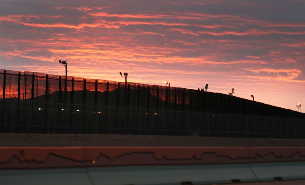 The steel barrier on the U.S.-Mexico border.