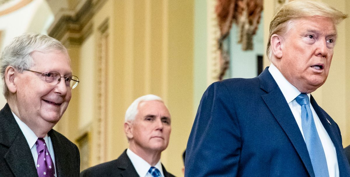 Senate Minority Leader Mitch McConnell, former Vice President Mike Pence and President Donald Trump walk together.