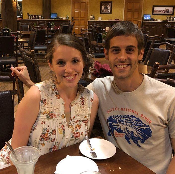 Jill and Derick Dillard at restaurant