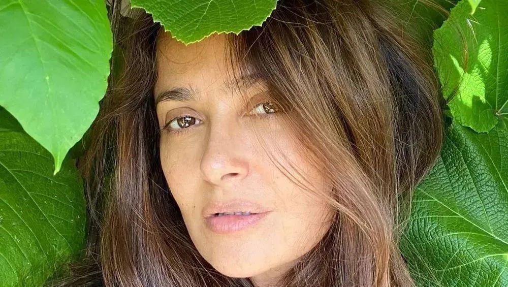 Salma Hayek amid leaves
