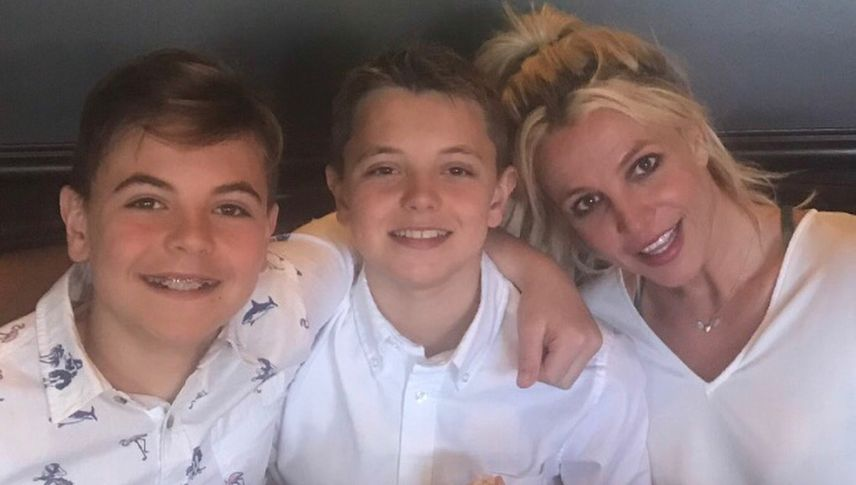 Britney Spears with her sons