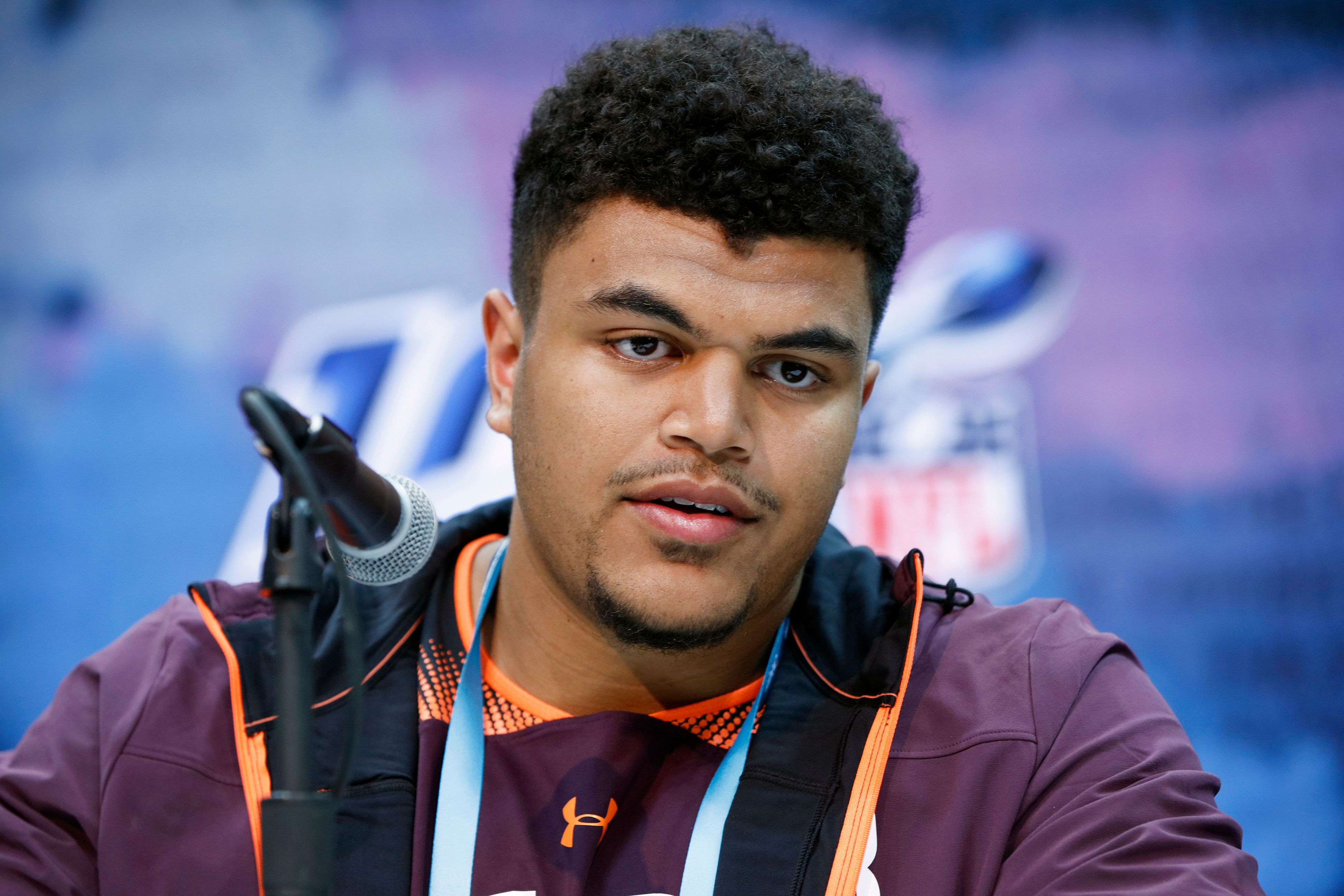 Andre Dillard during a press conference