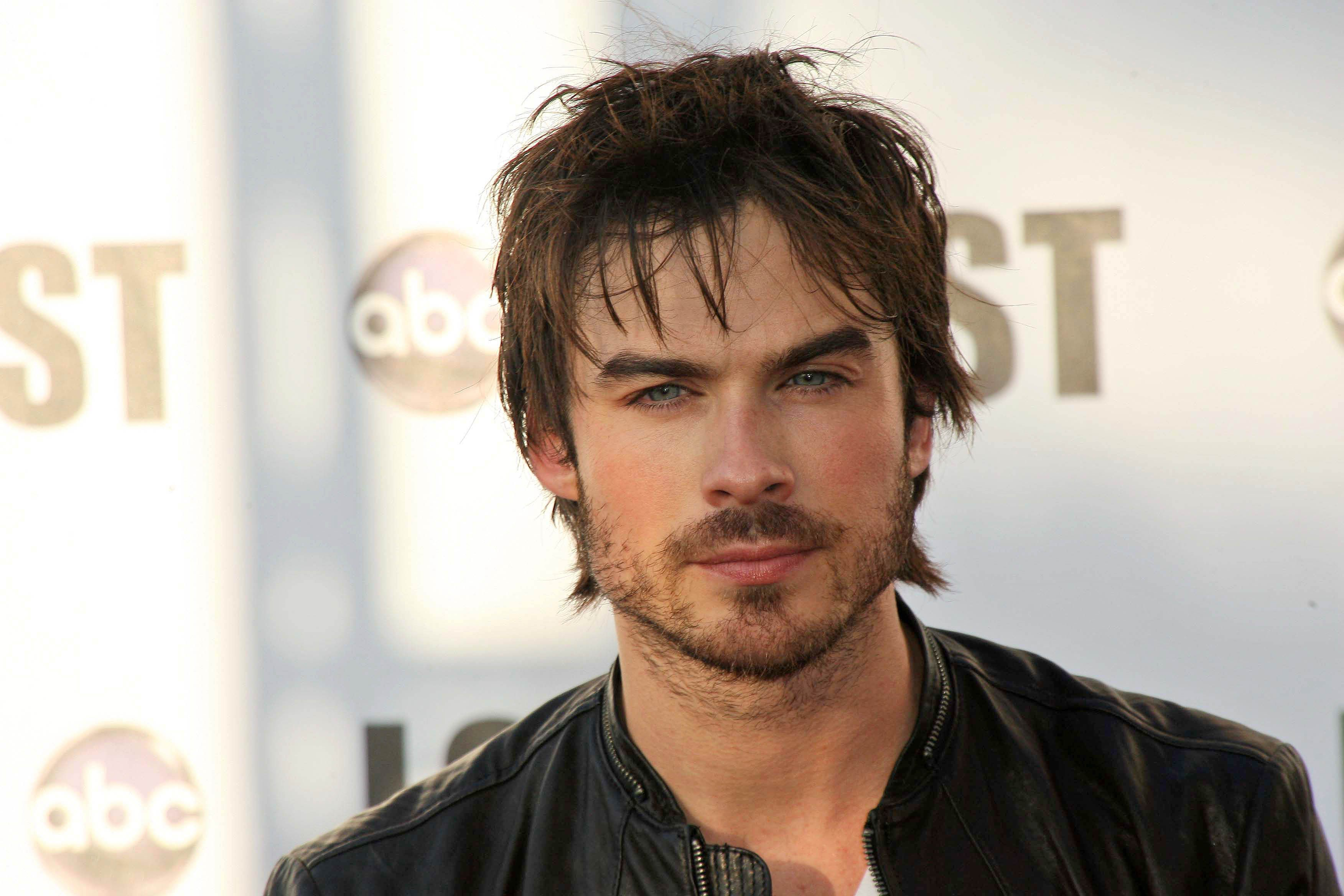 Ian Somerhalder wears a leather jacket with messy hair.