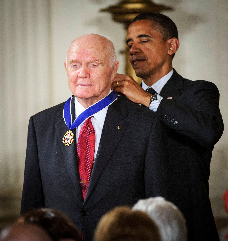 President Obama awarding the Presidential Medal of Freedom to John Glenn