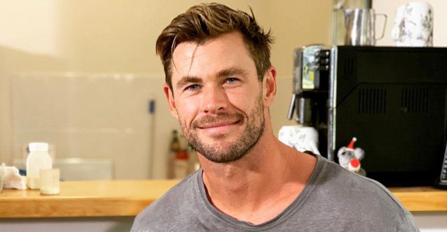 Chris Hemsworth with coffee machine