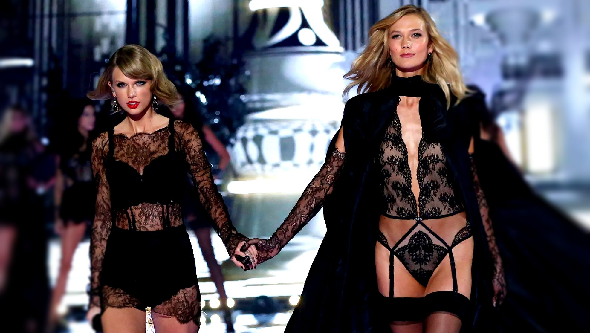 Taylor Swift and Karlie Kloss hold hands on the runway at the 2014 VS Fashion Show