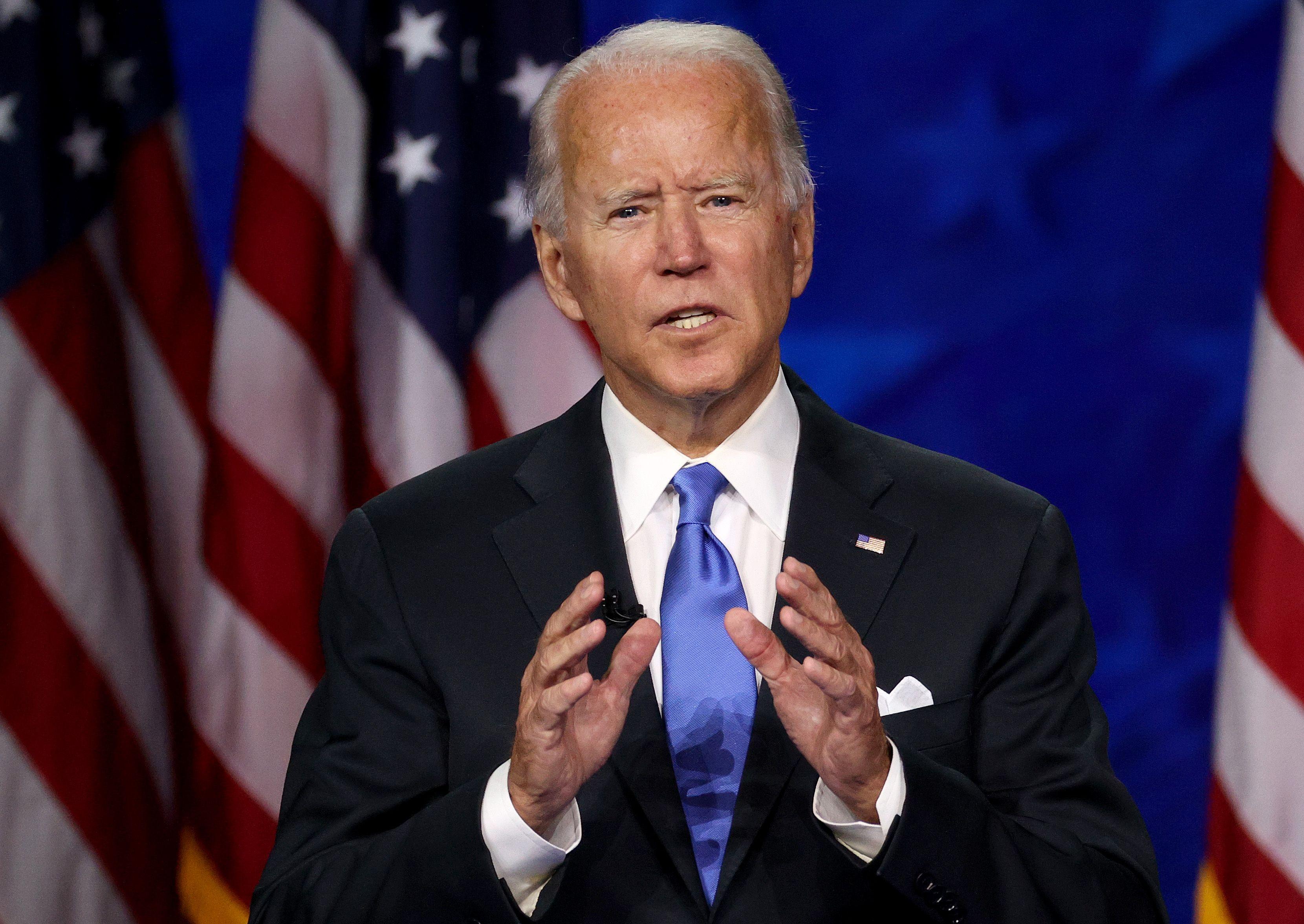 Joe Biden delivers a speech.