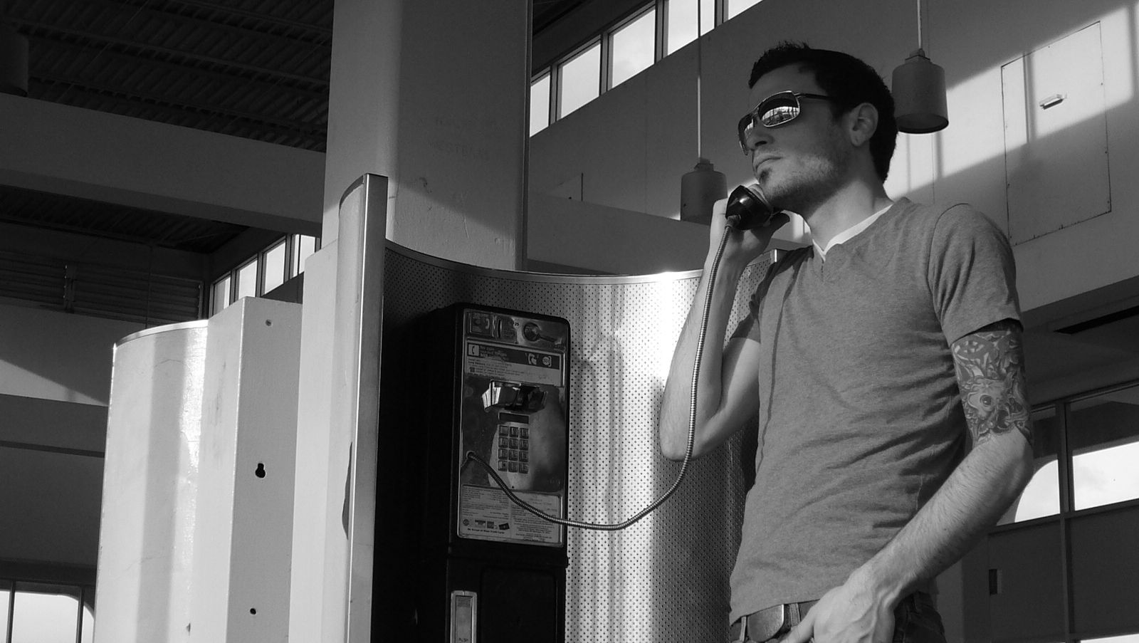 man on the phone greyscale