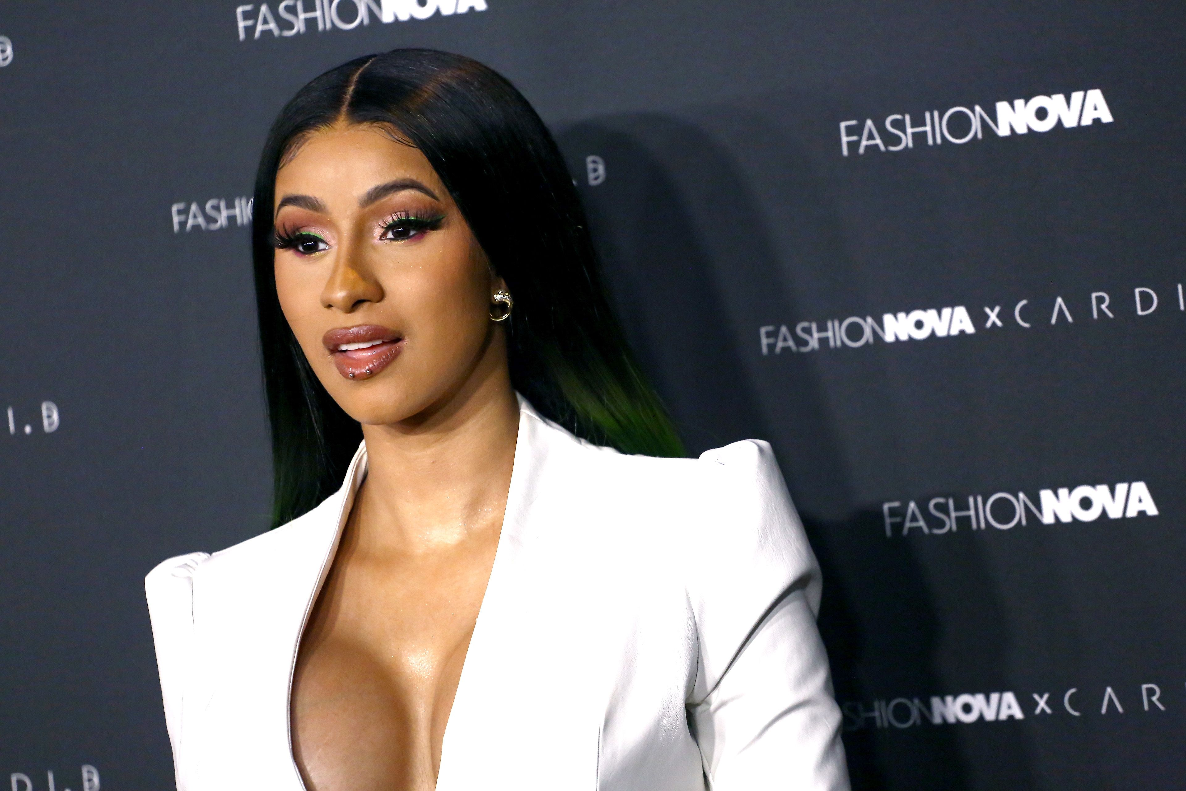 Cardi B with her mouth slightly open